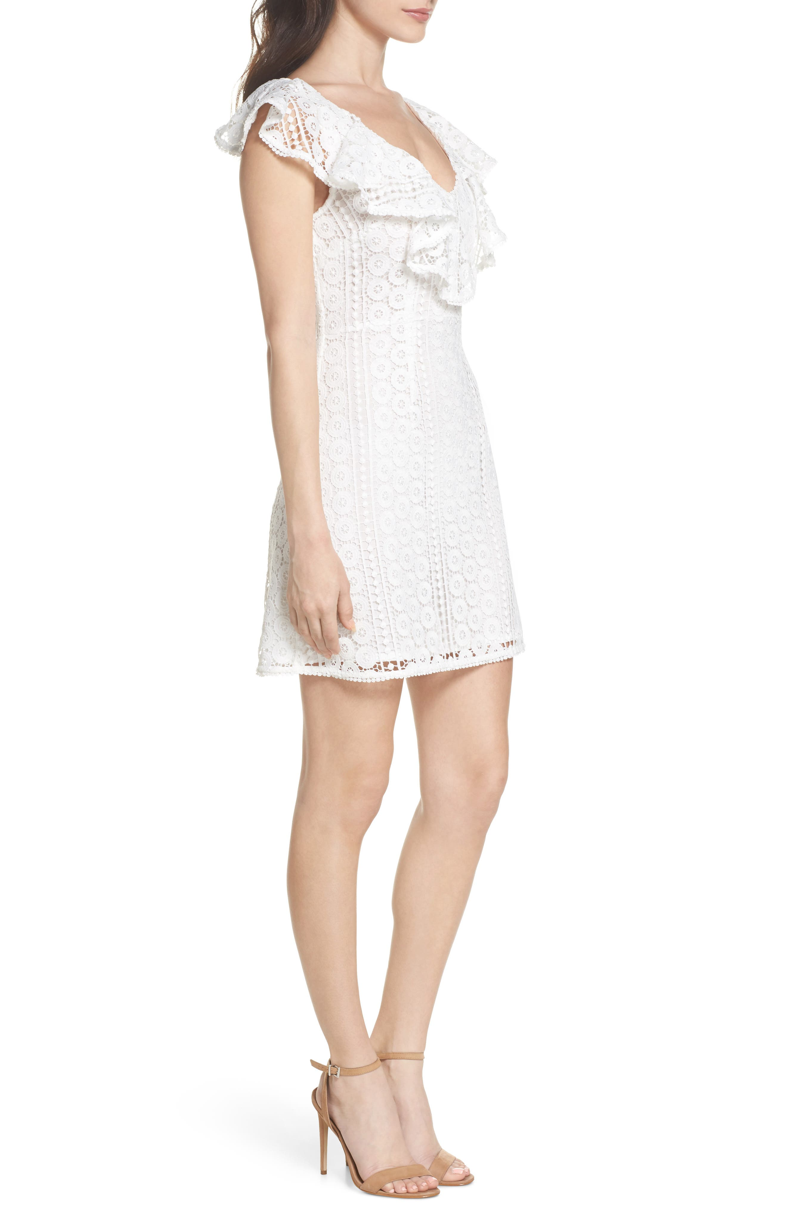 Massey Lace Dress,                             Alternate thumbnail 3, color,                             Summer White
