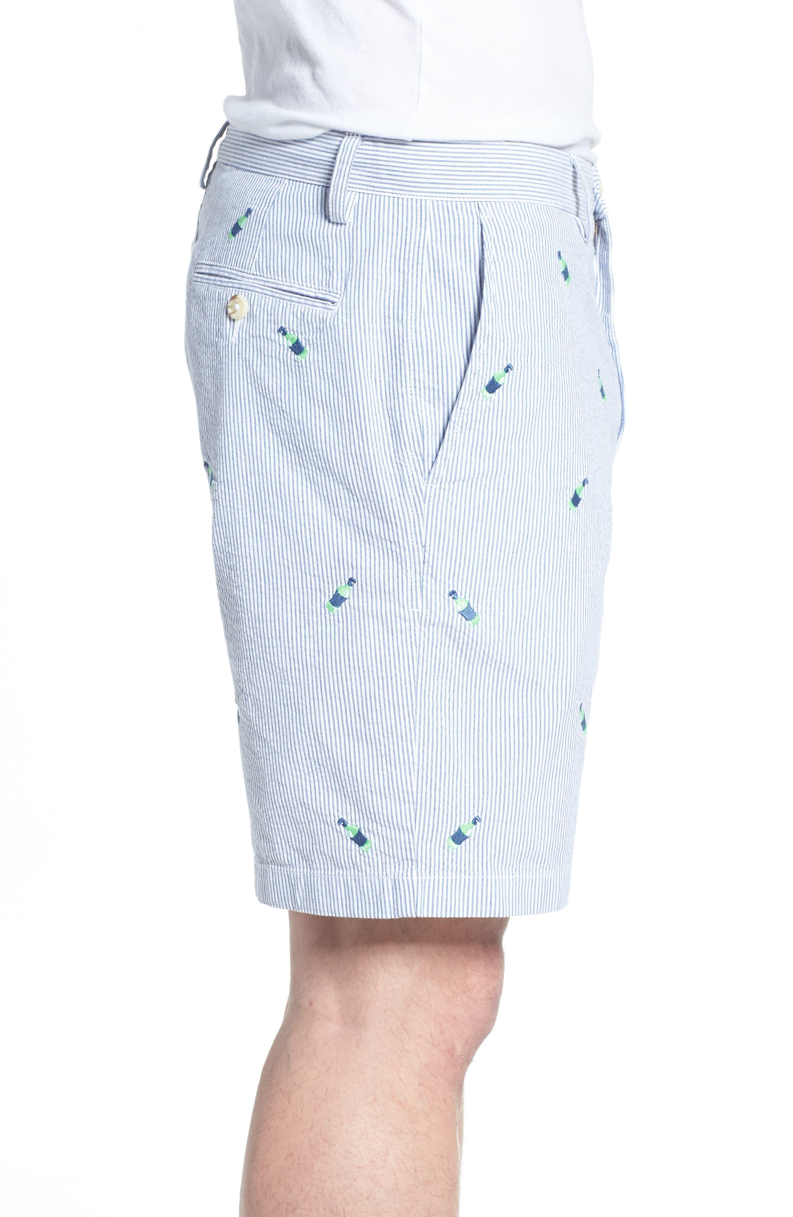 Embroidered Seersucker Shorts,                             Alternate thumbnail 3, color,                             Seven Seas Blue