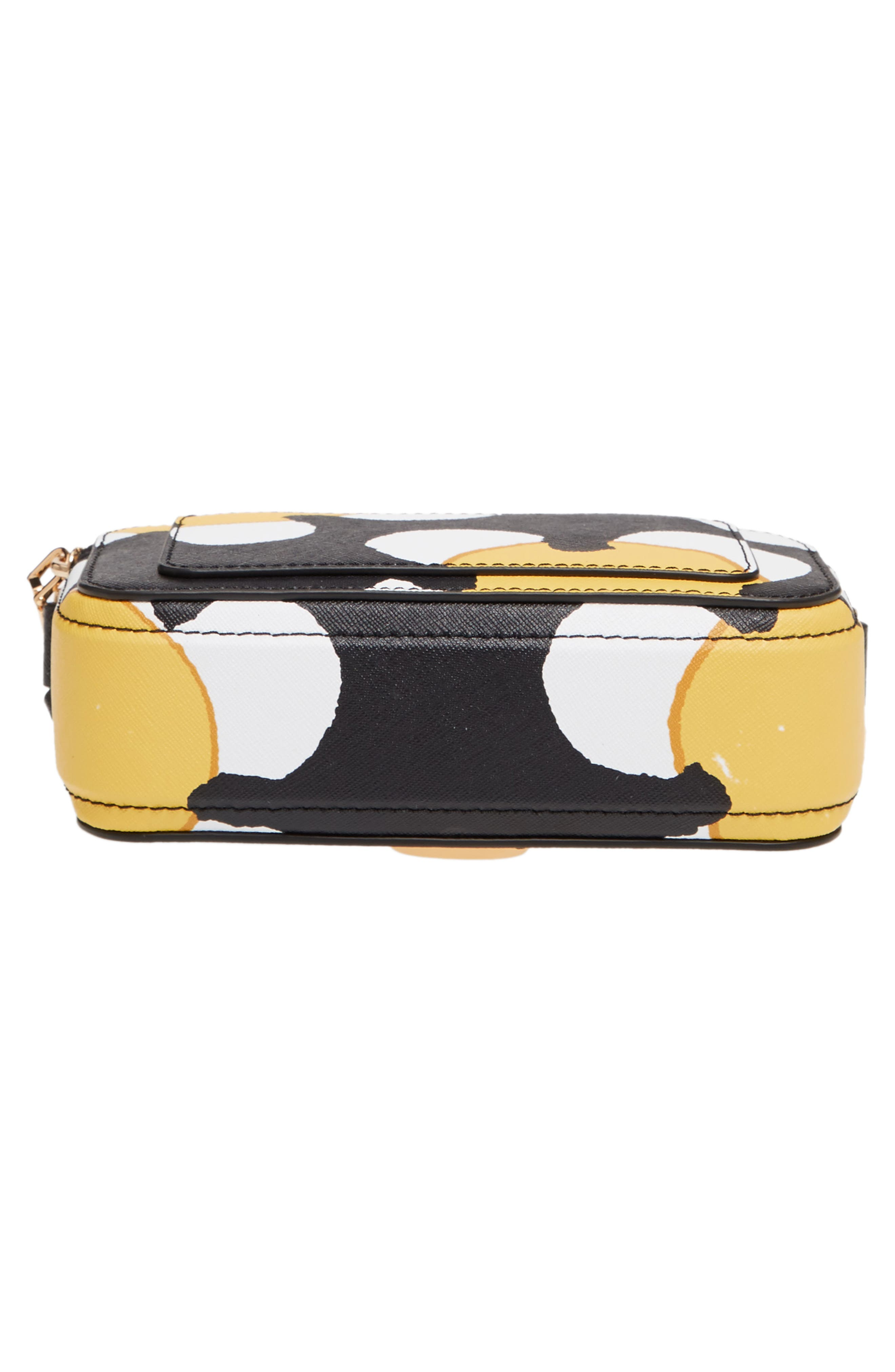 Snapshot Daisy Print Leather Crossbody Bag,                             Alternate thumbnail 6, color,                             Yellow Multi