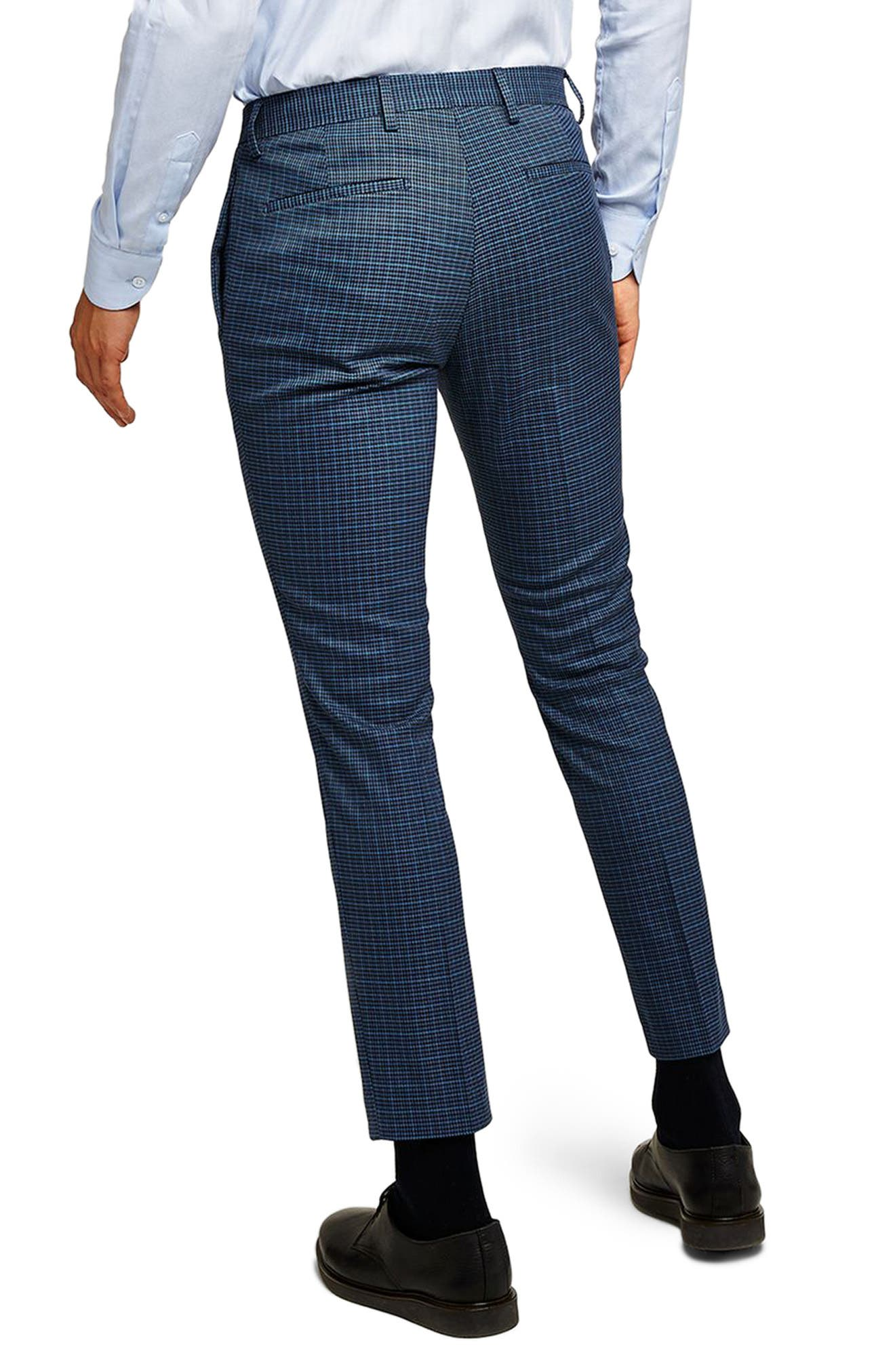Check Skinny Fit Suit Trousers,                             Alternate thumbnail 2, color,                             Mid Blue Multi