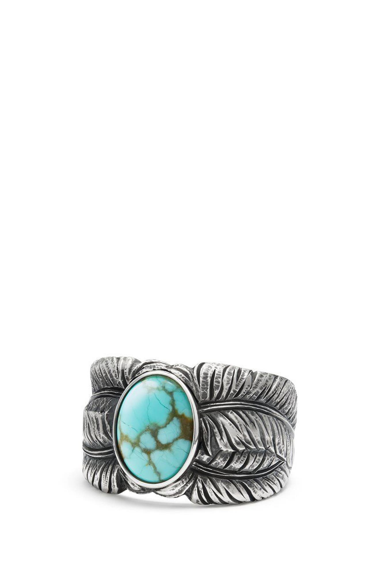 Southwest Cigar Band Feather Ring with Turquoise,                             Alternate thumbnail 3, color,                             Turquoise