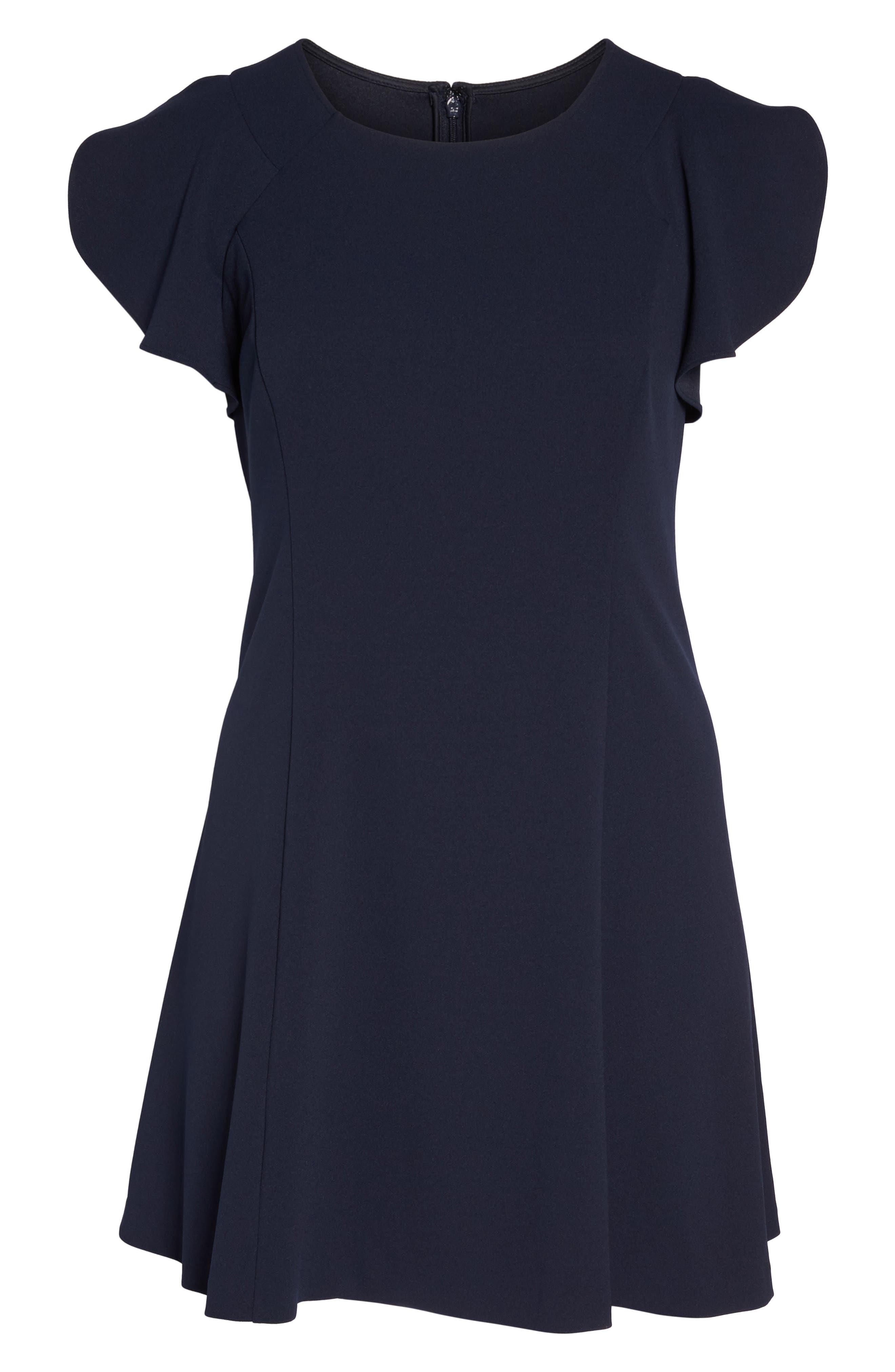 Ruffle Sleeve Scuba Crepe A-Line Dress,                             Alternate thumbnail 6, color,                             Navy