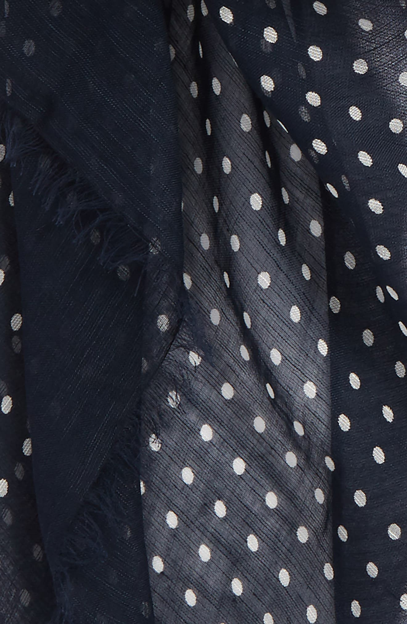 Polka Dot Linen Scarf,                             Alternate thumbnail 3, color,                             Navy With White And Sky Dot