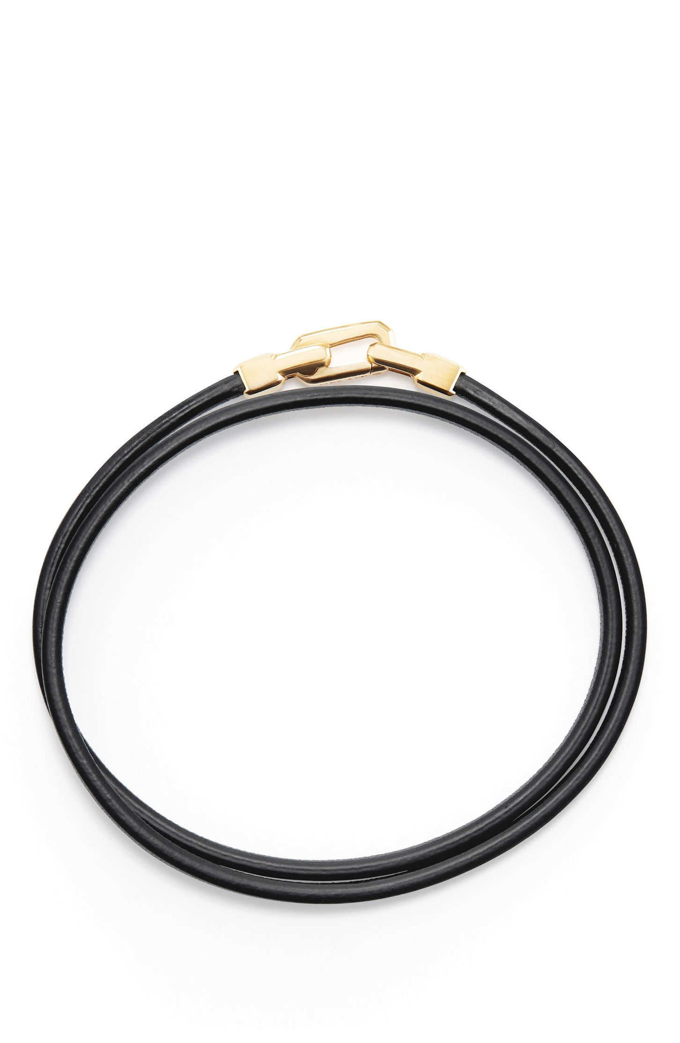 Streamline Double Wrap Leather Bracelet with 18K Gold,                             Alternate thumbnail 2, color,                             Gold