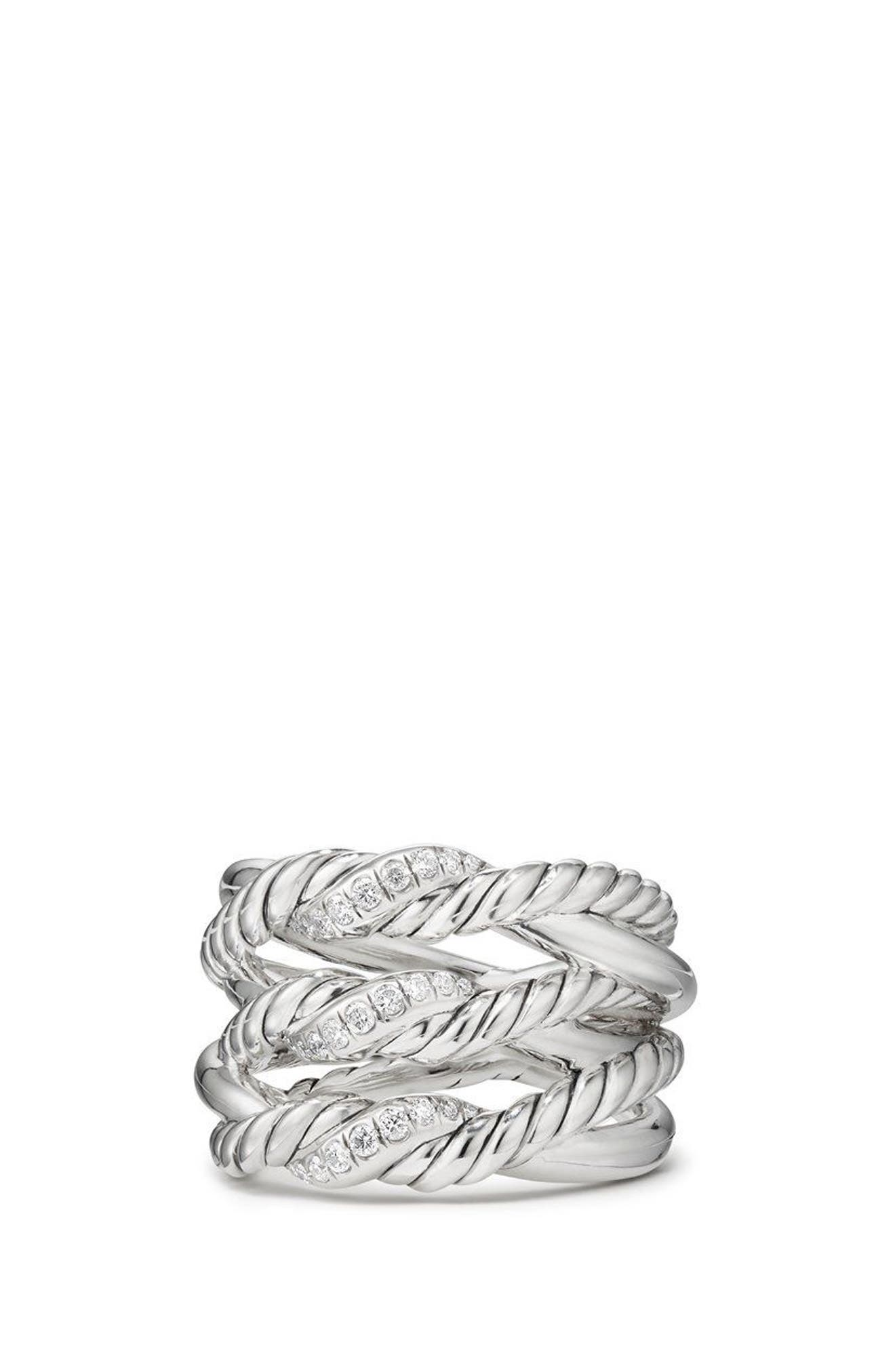 Continuance<sup>®</sup> 3-Row Ring with Diamonds,                             Main thumbnail 1, color,                             Silver/ Diamond