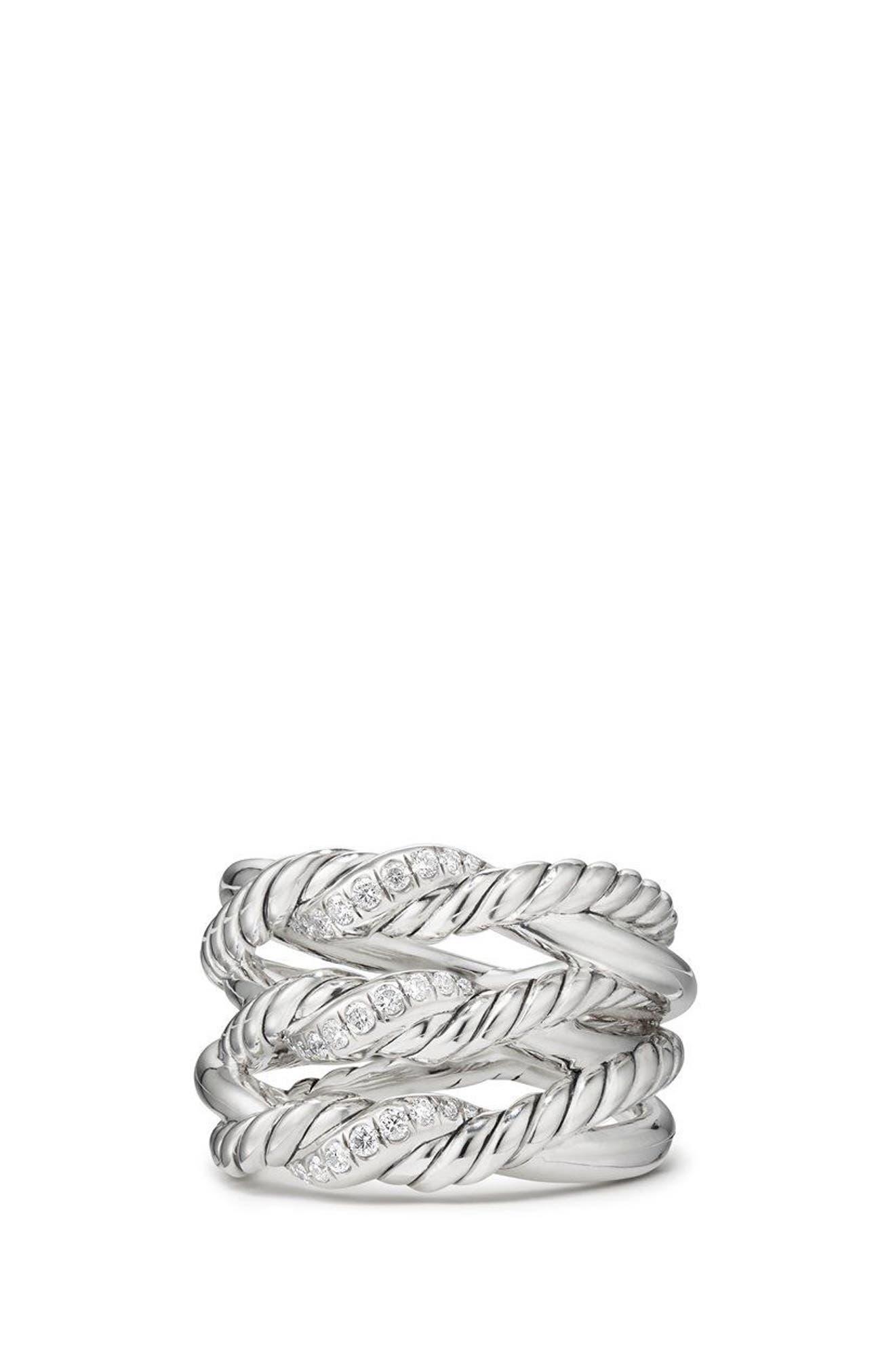 David Yurman Continuance® 3-Row Ring with Diamonds