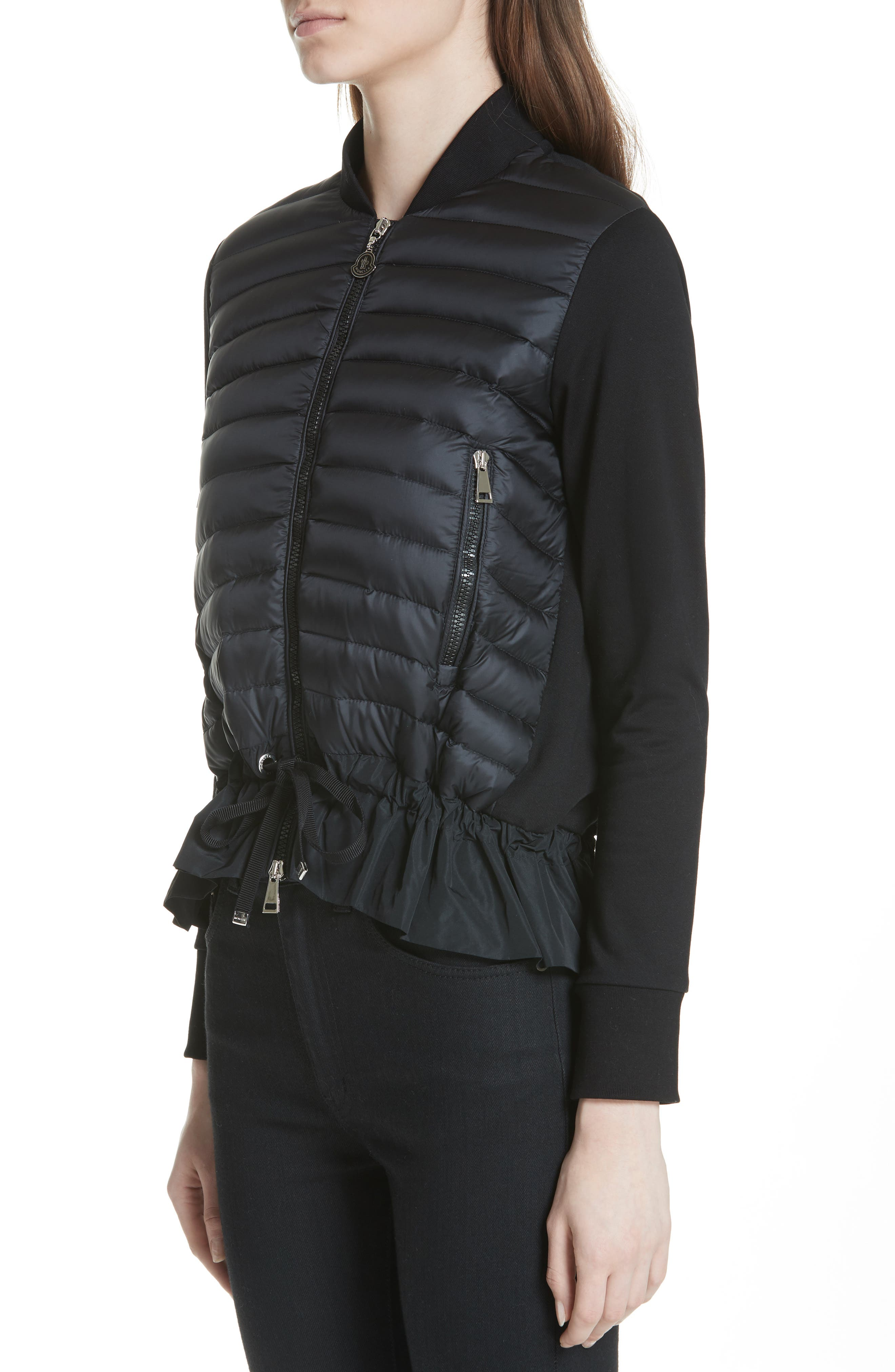 Quilted Down & Cotton Bomber,                             Alternate thumbnail 4, color,                             Black