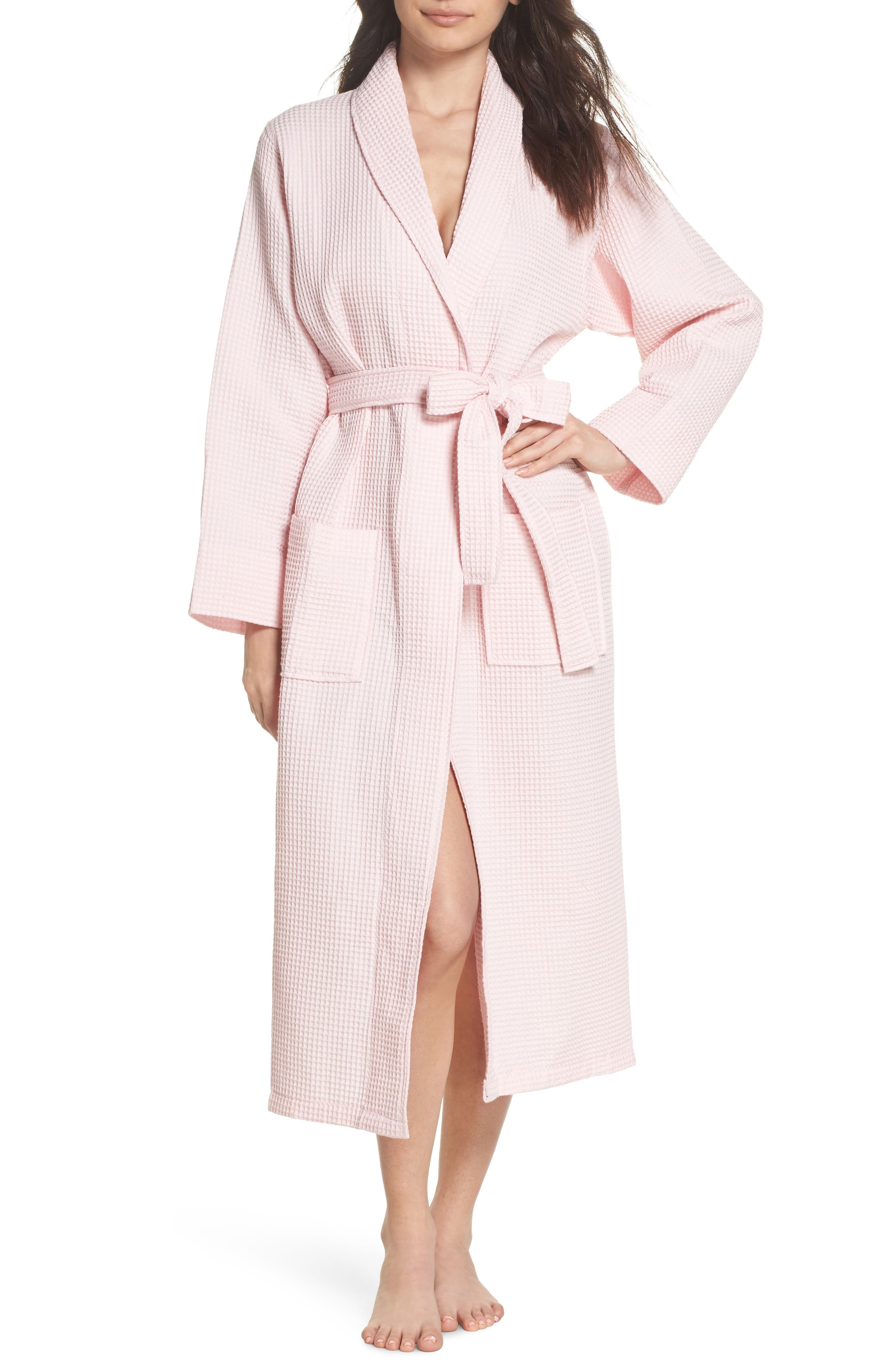 Waffle Knit Cotton Robe,                         Main,                         color, Ice Pink