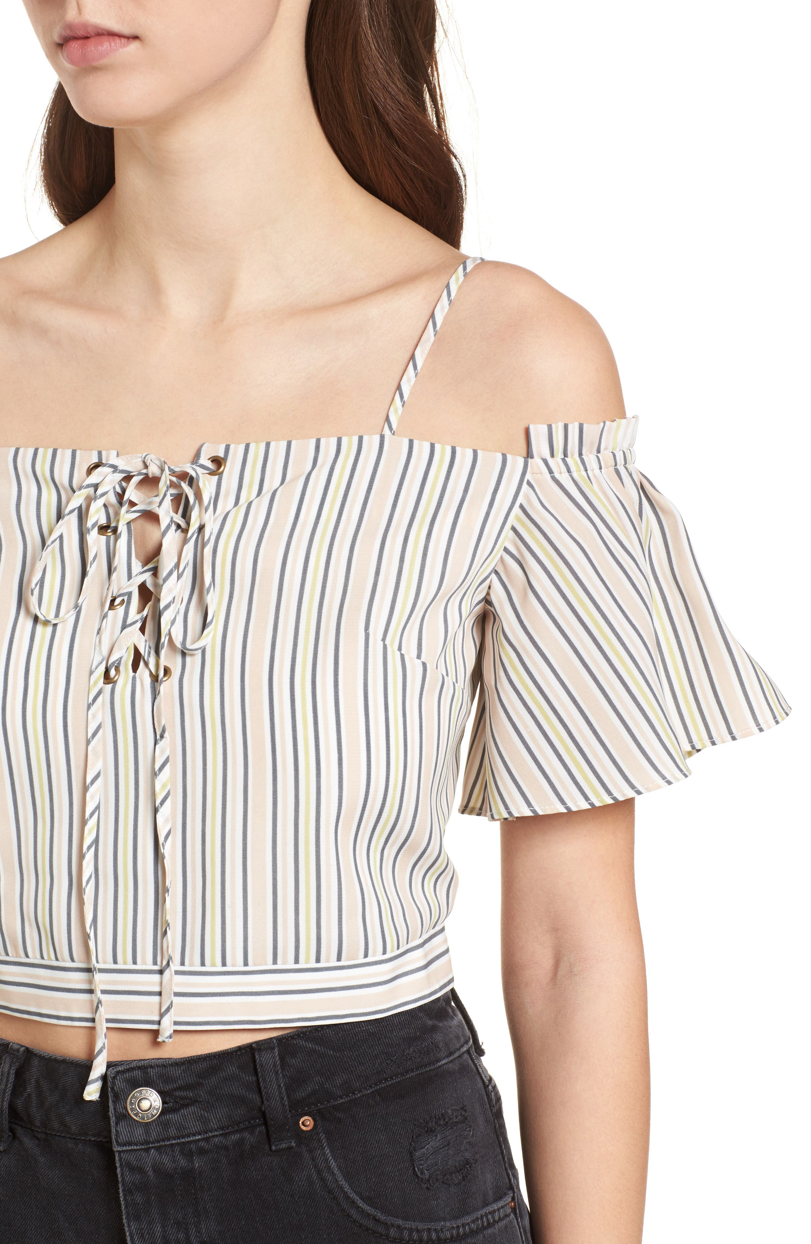 Off the Shoulder Crop Top,                             Alternate thumbnail 5, color,                             Blush Stripe