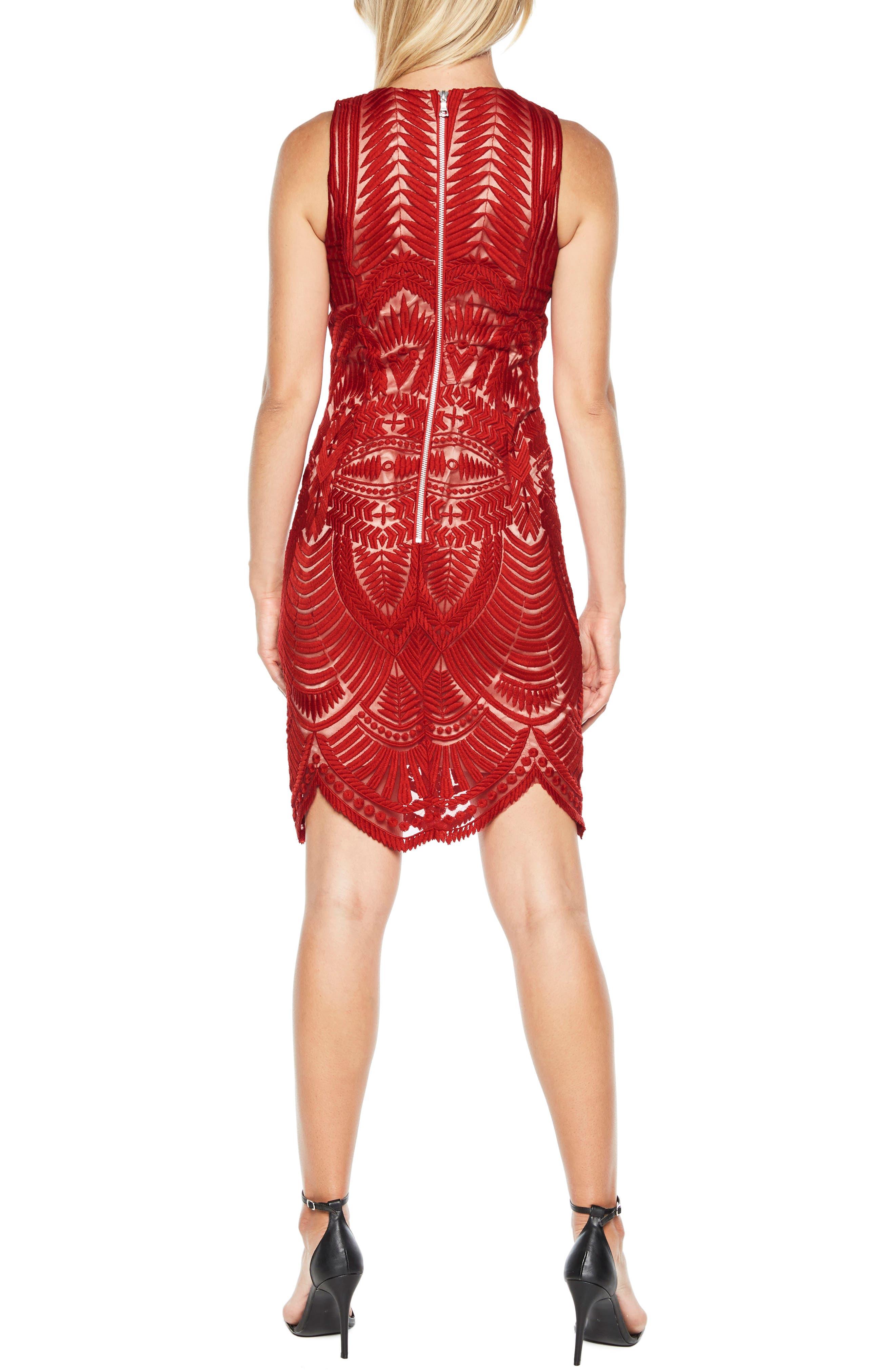 Embroidered Mesh Dress,                             Alternate thumbnail 2, color,                             Lipstick