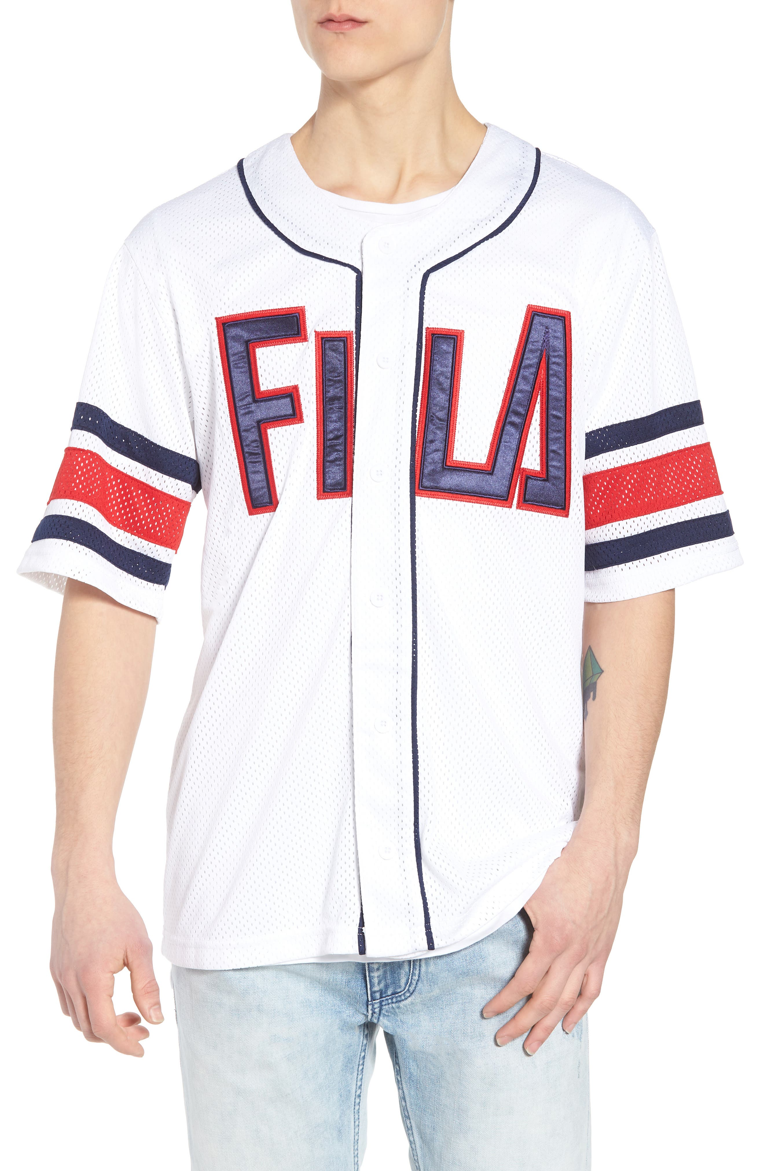 Kyler Baseball Jersey,                         Main,                         color, White/ Peacoat/ Chinese Red