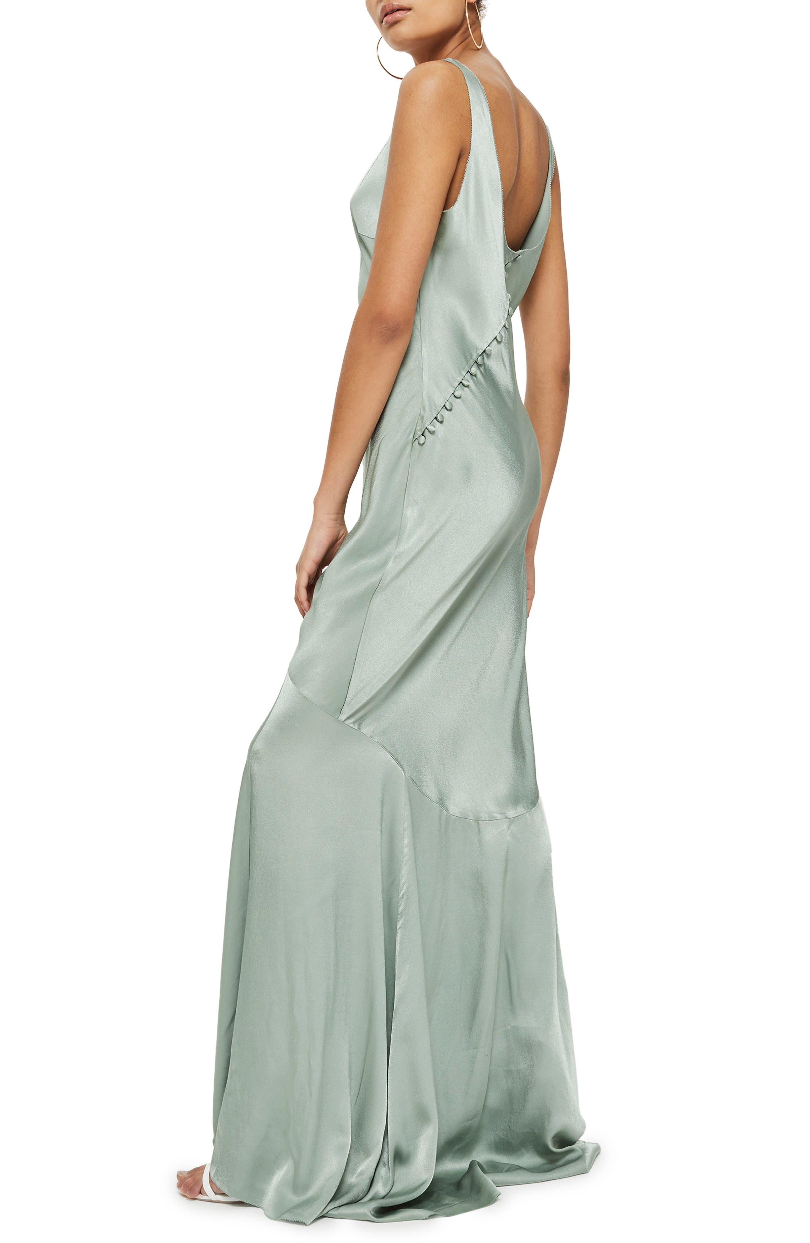Satin Fishtail Gown,                             Alternate thumbnail 2, color,                             Green