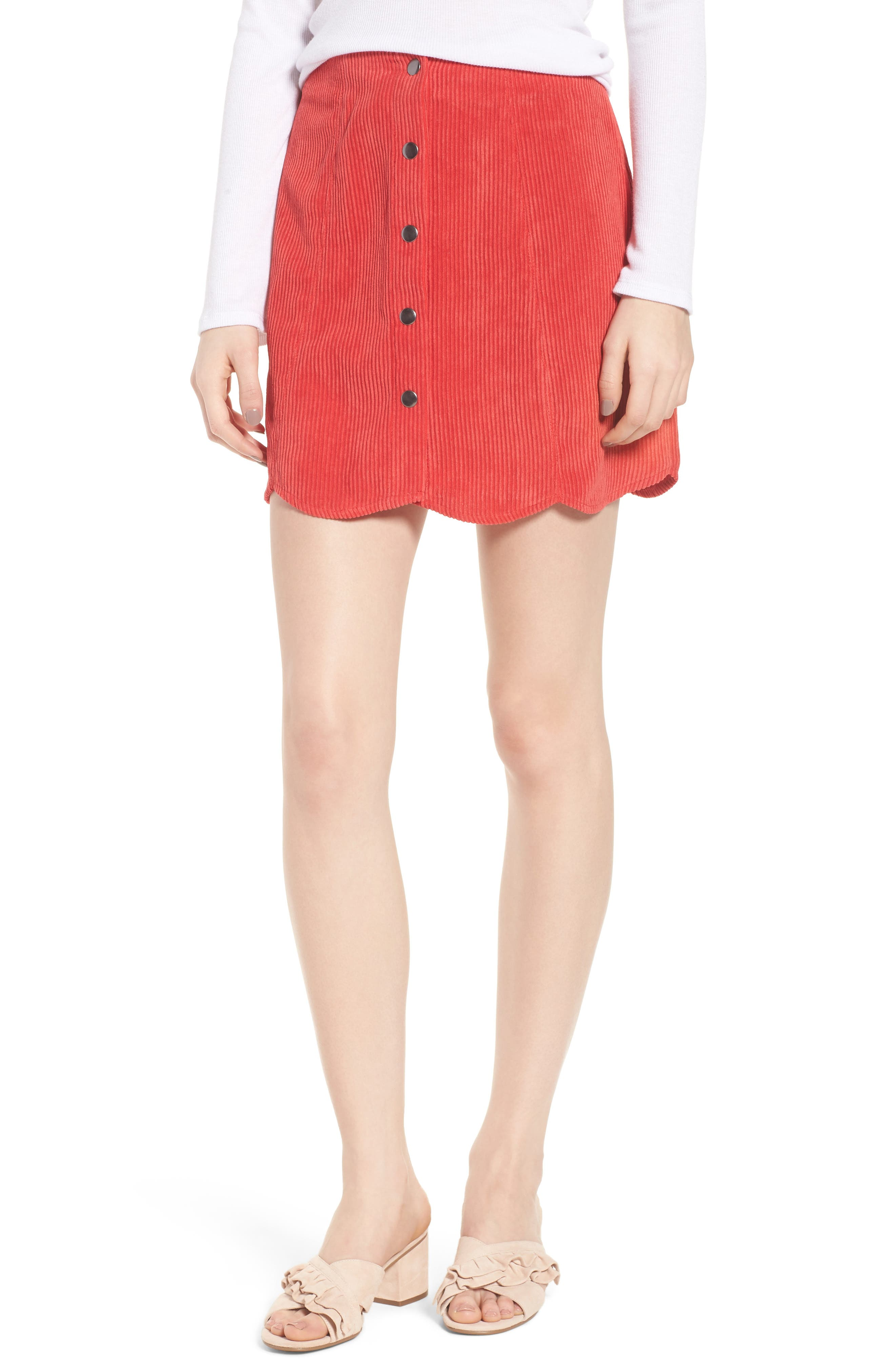 Central Corduroy Scallop Hem Skirt,                             Main thumbnail 1, color,                             Red