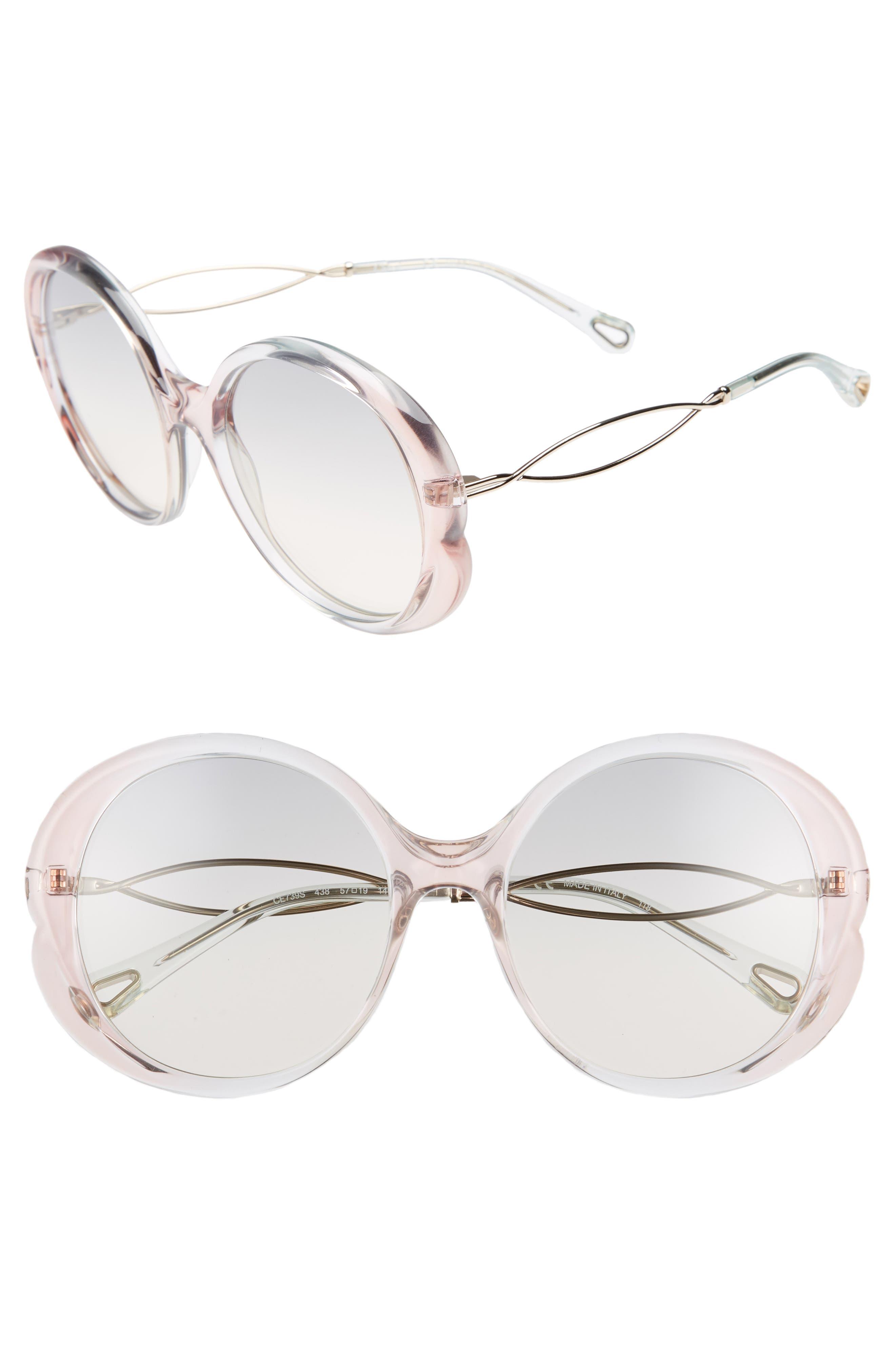 Chloé Petal 57mm Gradient Round Sunglasses