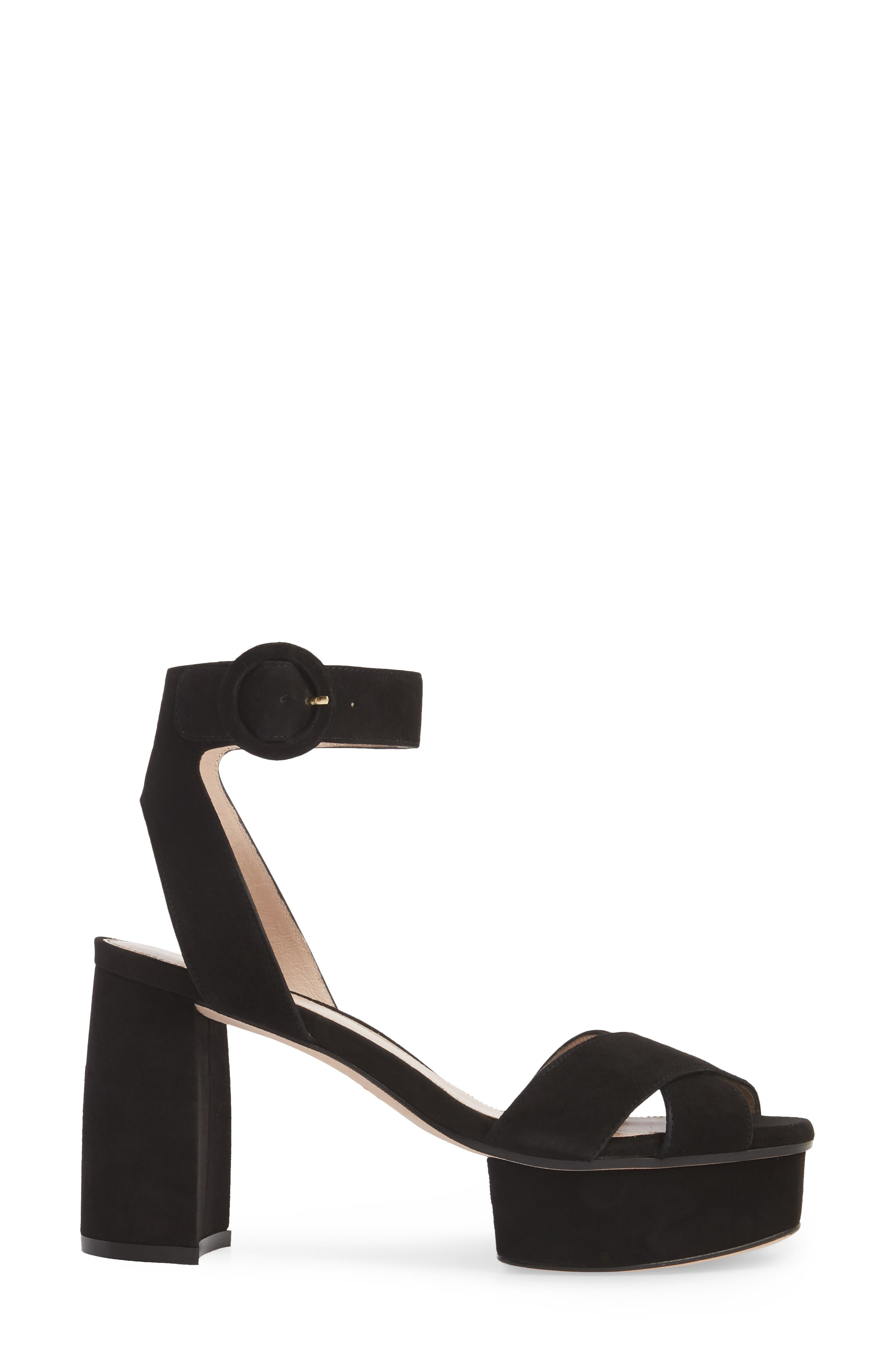 Carmina Ankle Strap Platform Sandal,                             Alternate thumbnail 3, color,                             Black Seda Suede