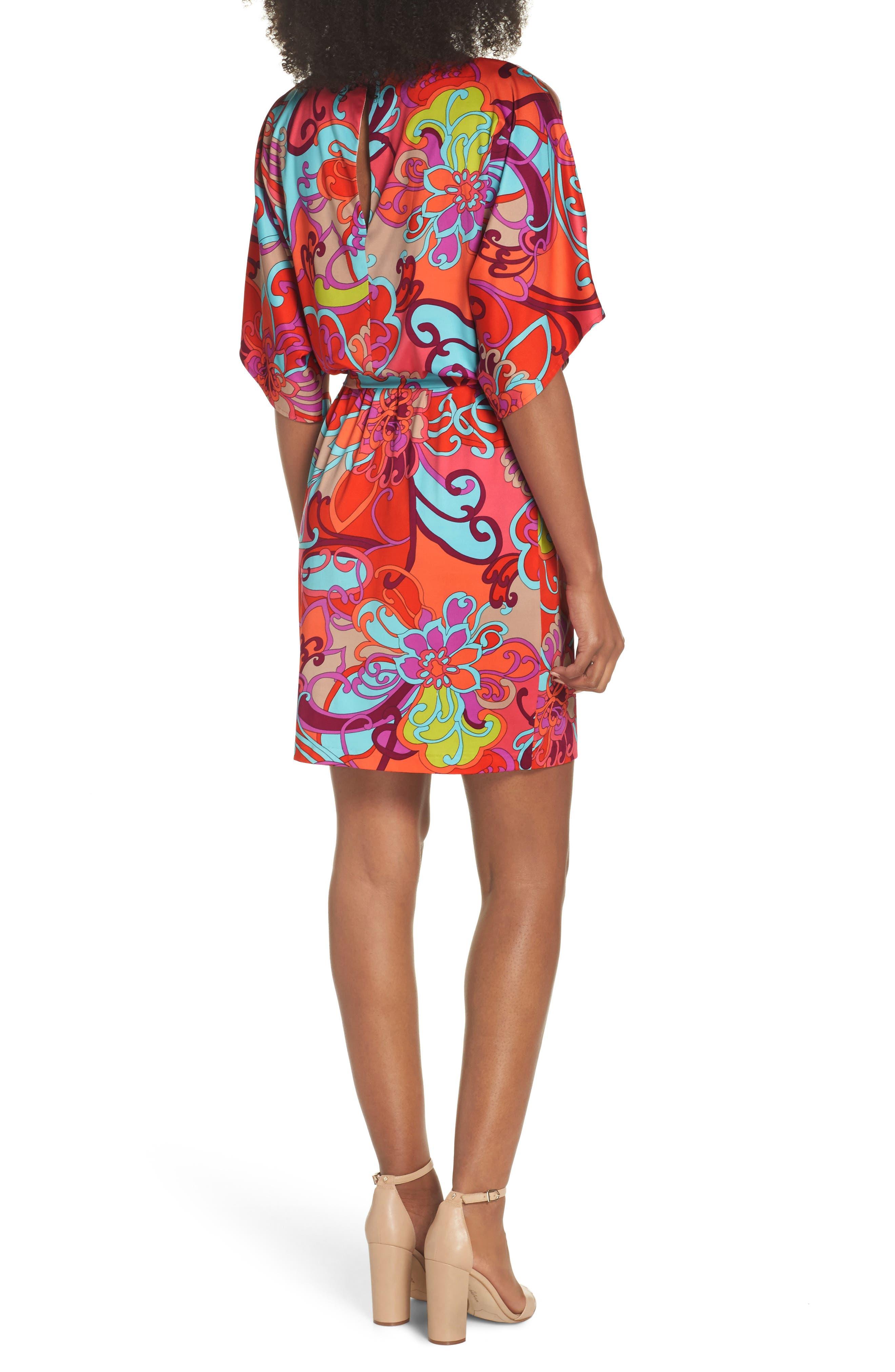 Bernice Print Dress,                             Alternate thumbnail 2, color,                             Coral Lily