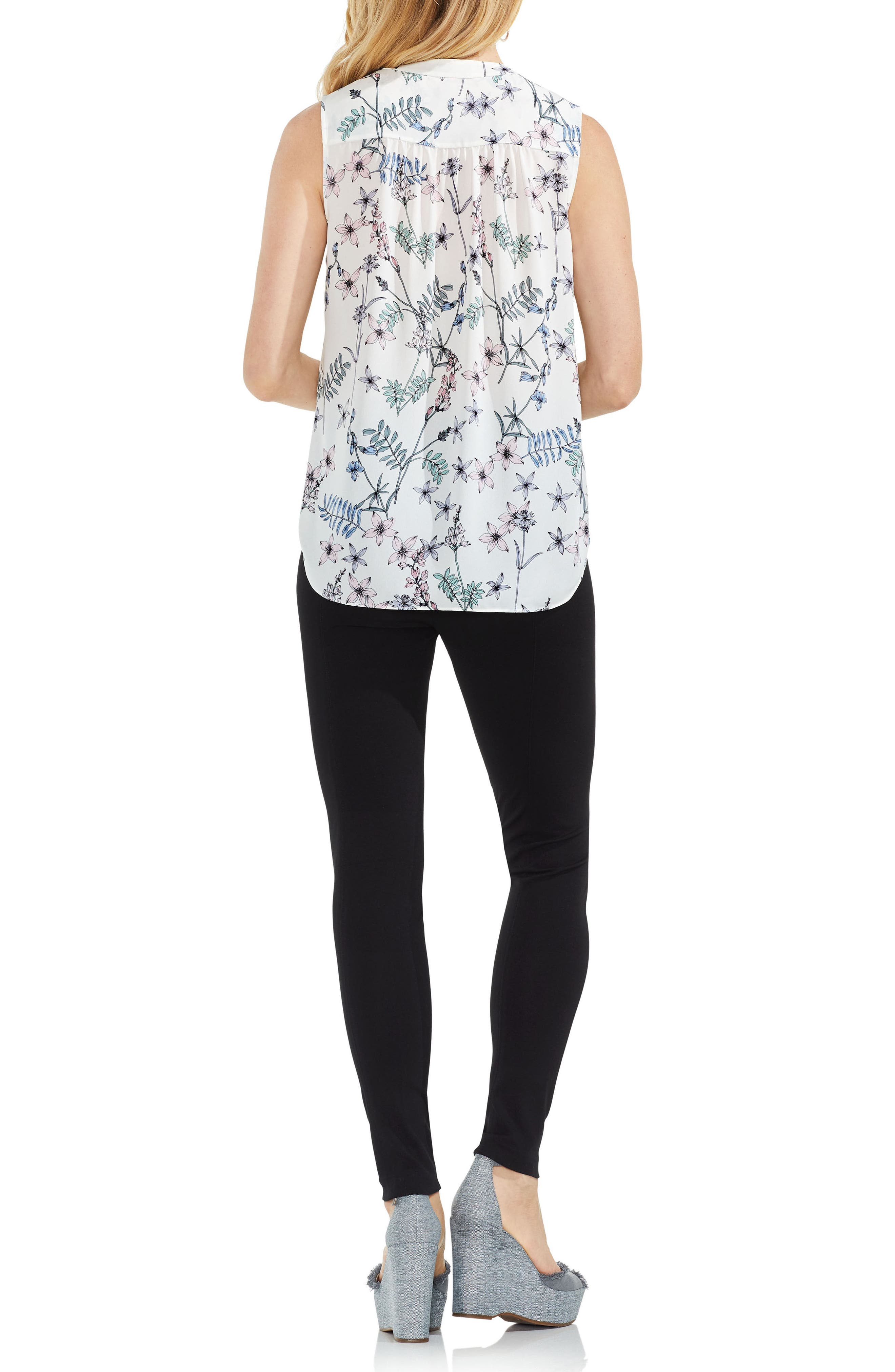 Floral Sleeveless Top,                             Alternate thumbnail 4, color,                             New Ivory