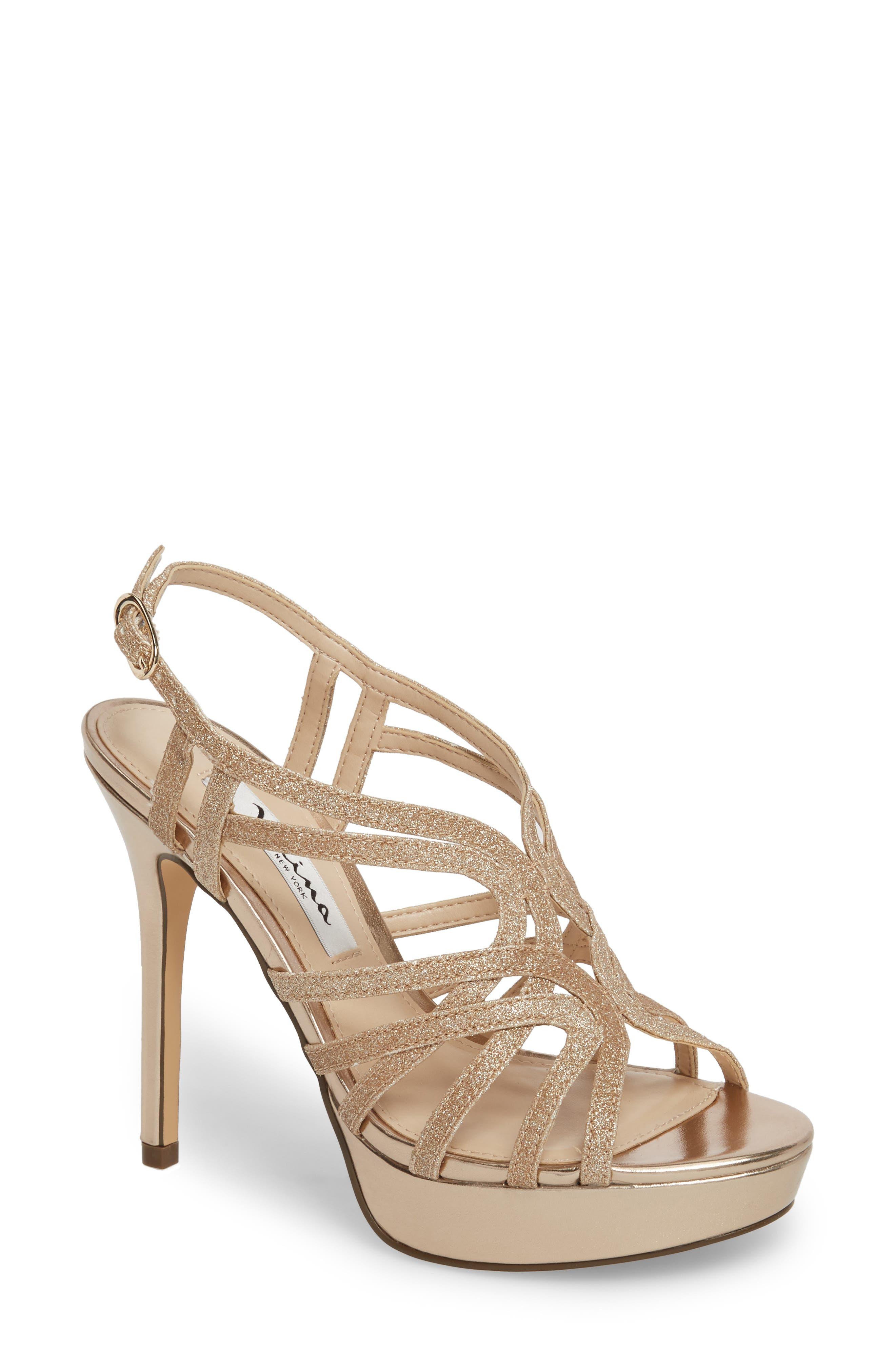 Solina Platform Sandal,                         Main,                         color, Gold Glitter Fabric