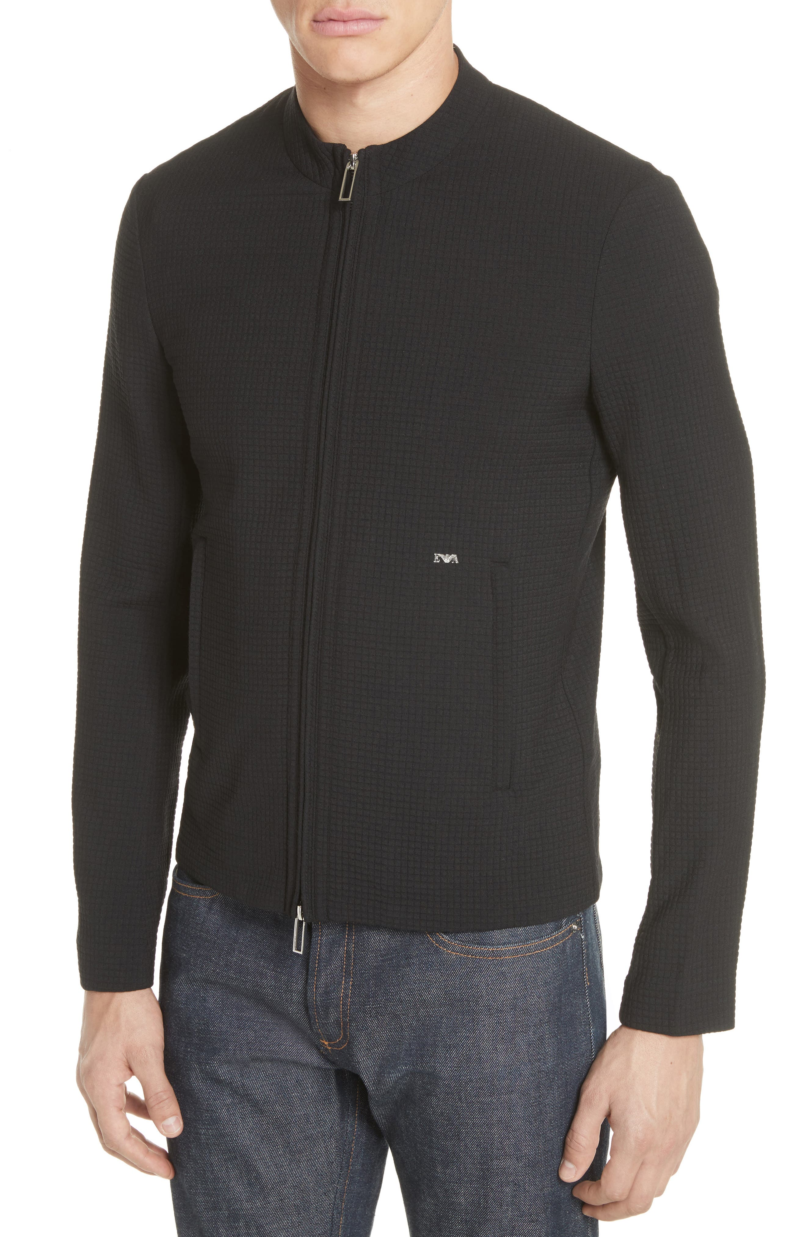 Ripstop Check Wool Blend Jacket,                             Alternate thumbnail 4, color,                             Nero
