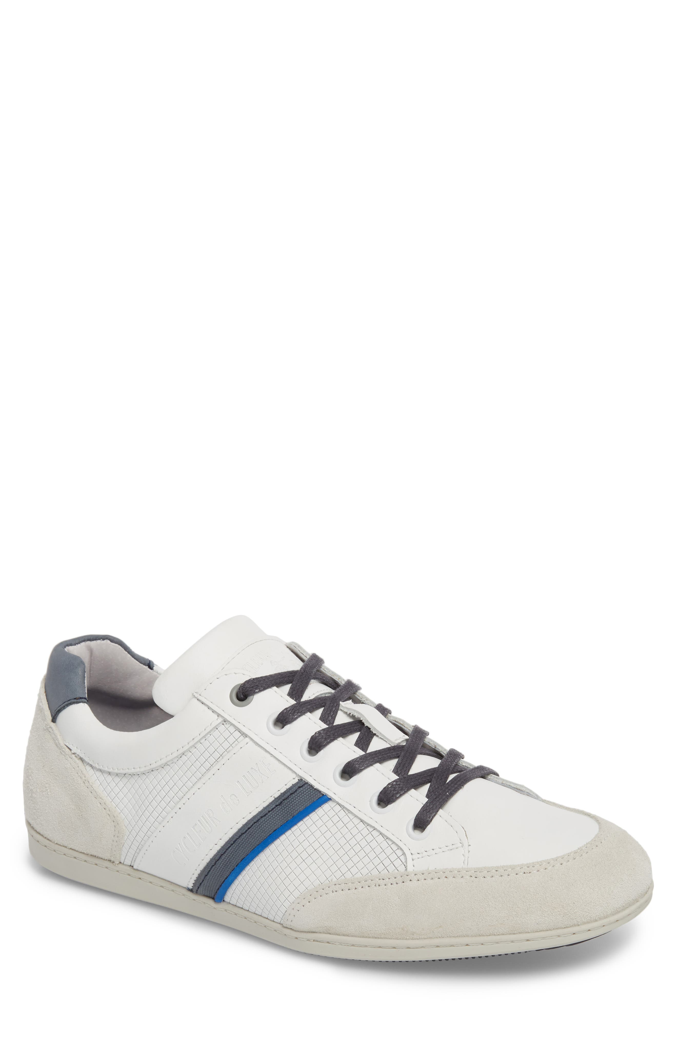 Bahamas Low Top Sneaker,                             Main thumbnail 1, color,                             Off White/ Navy Leather