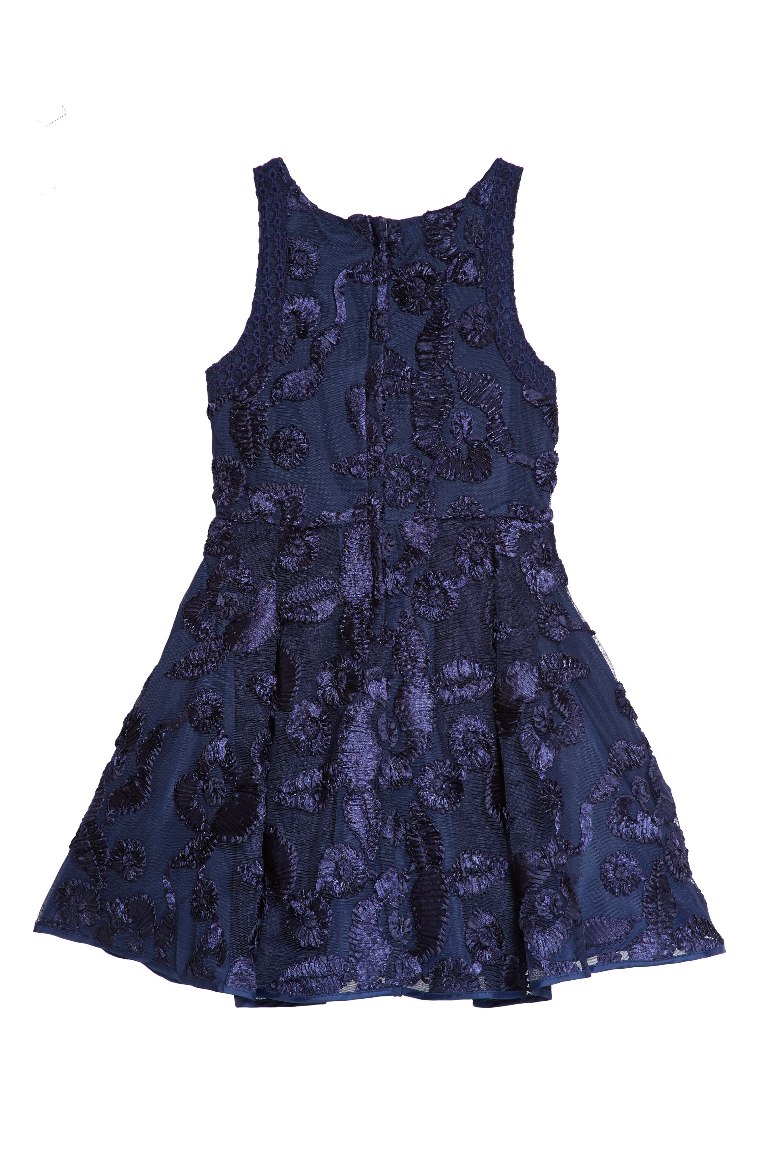 Floral Soutache Tulle Dress,                             Alternate thumbnail 2, color,                             Navy