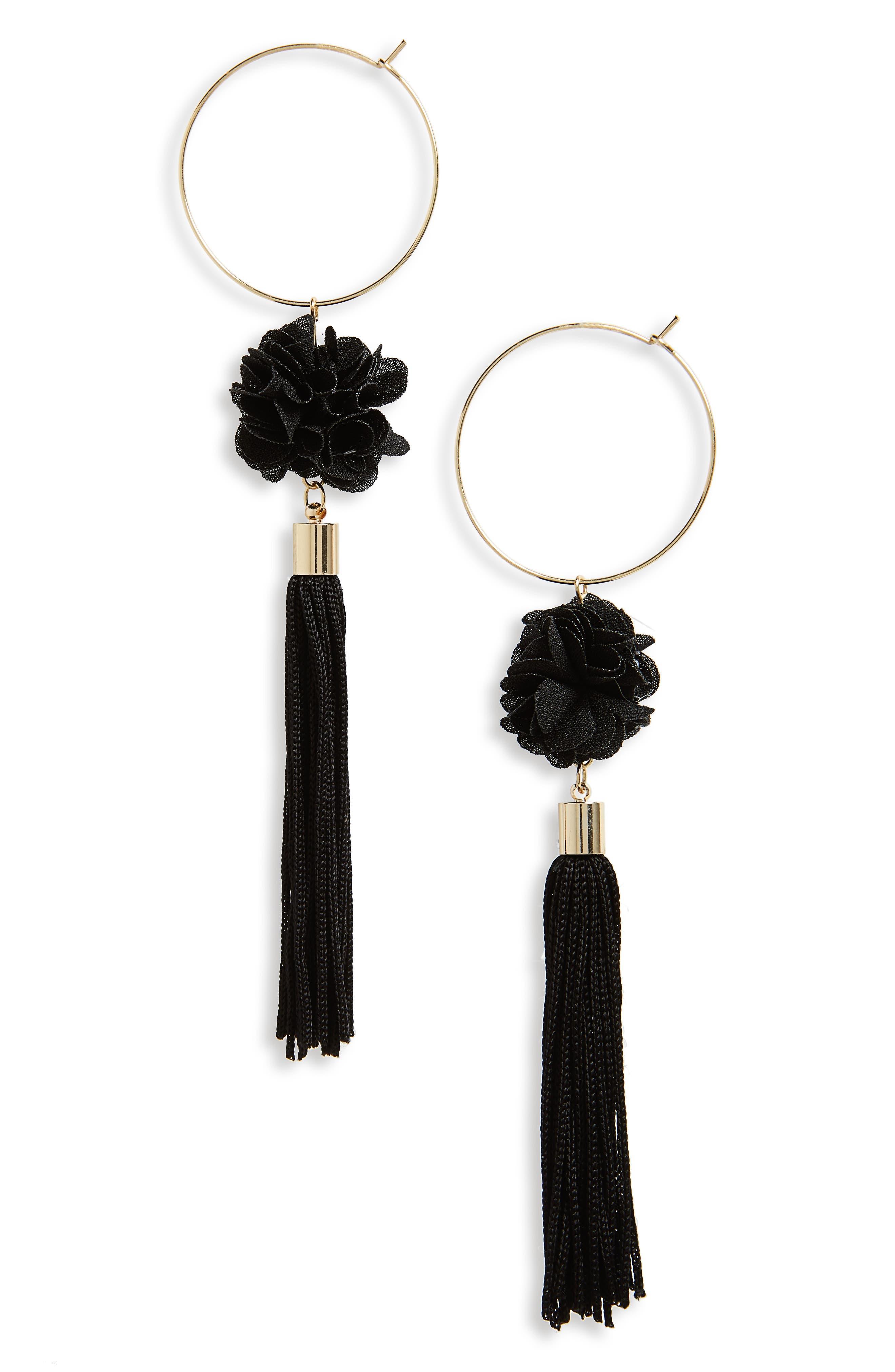 Hoop Flower Tassel Drop Earrings,                             Main thumbnail 1, color,                             Black
