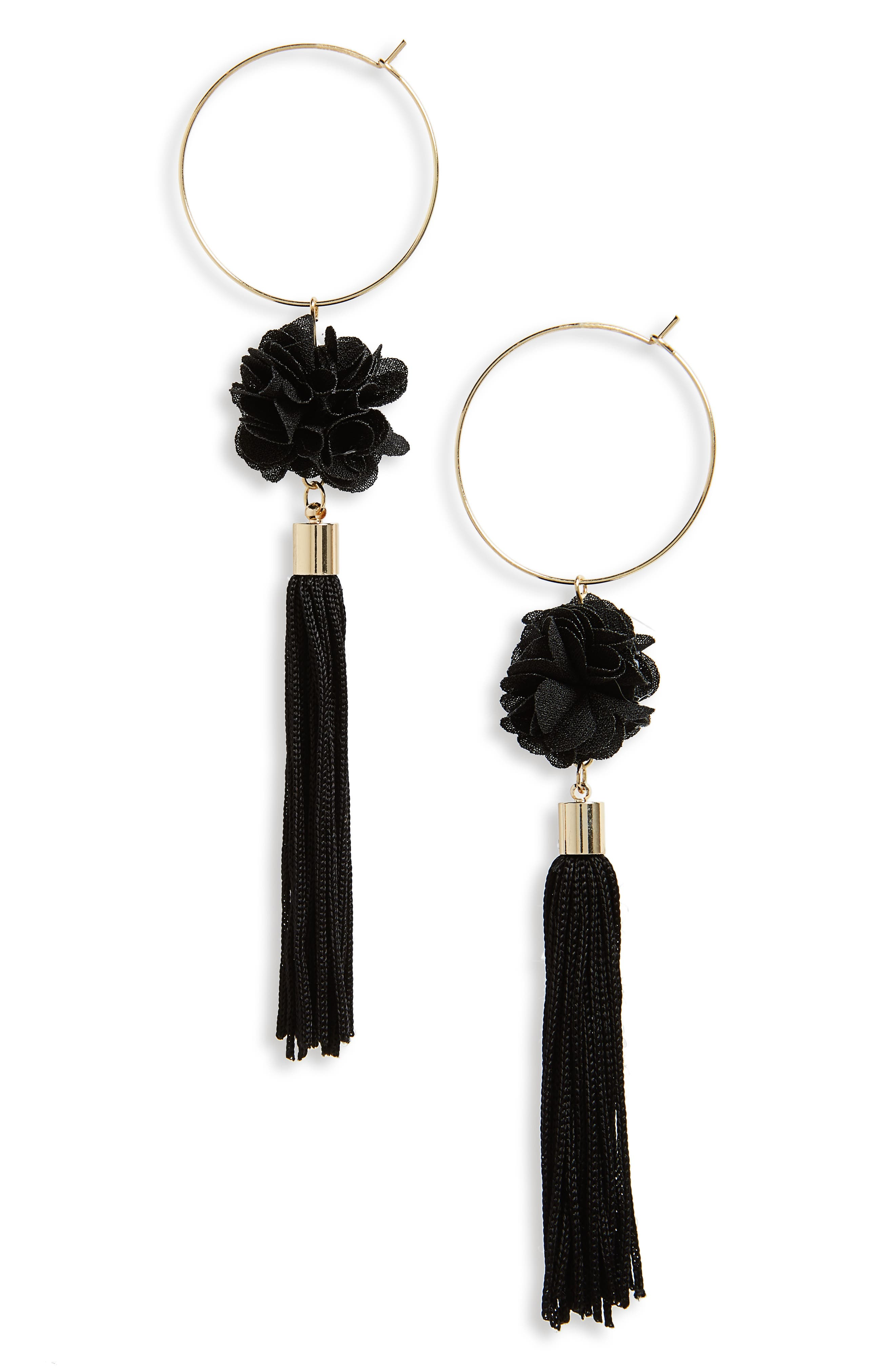 Hoop Flower Tassel Drop Earrings,                         Main,                         color, Black