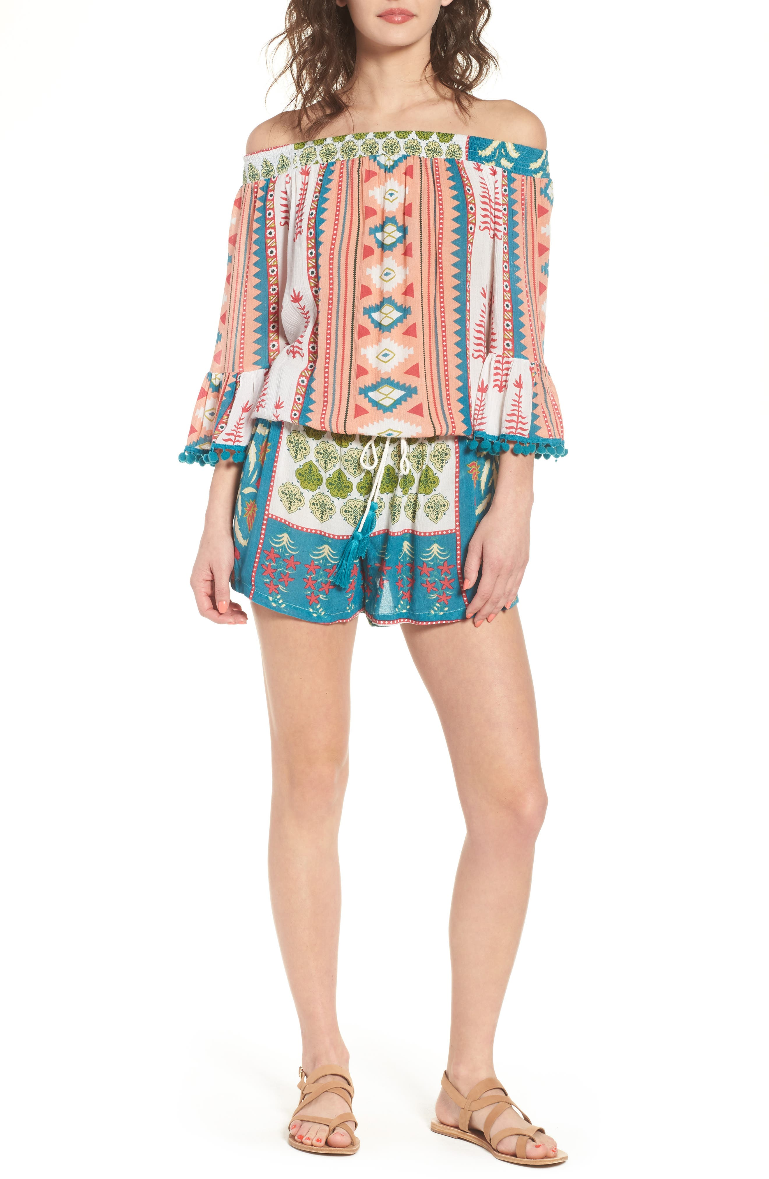 Albuquerque Nights Pom Off the Shoulder Romper,                             Main thumbnail 1, color,                             Multi