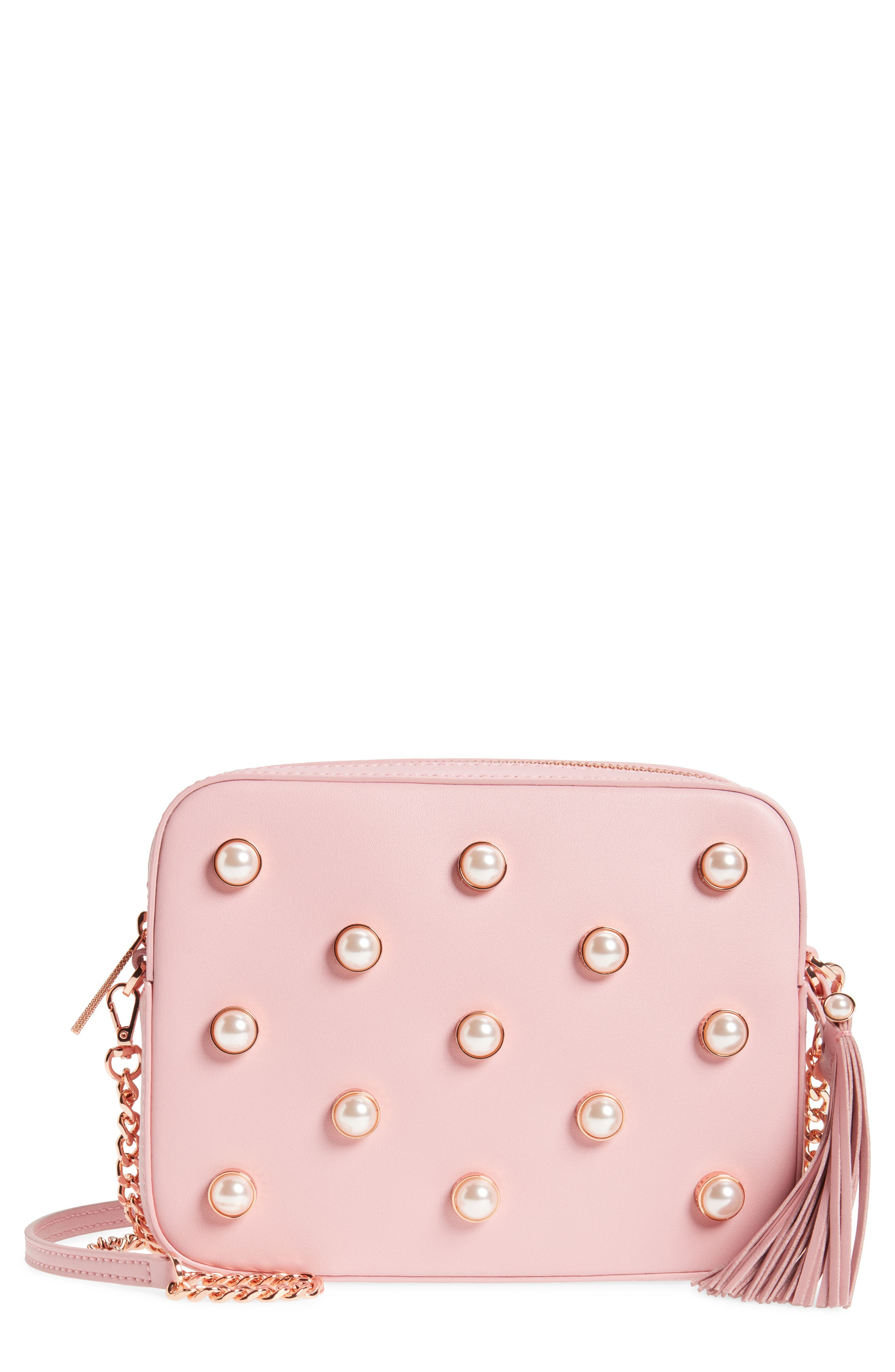 Alessia Imitation Pearl Embellished Leather Crossbody,                         Main,                         color, Dusky Pink