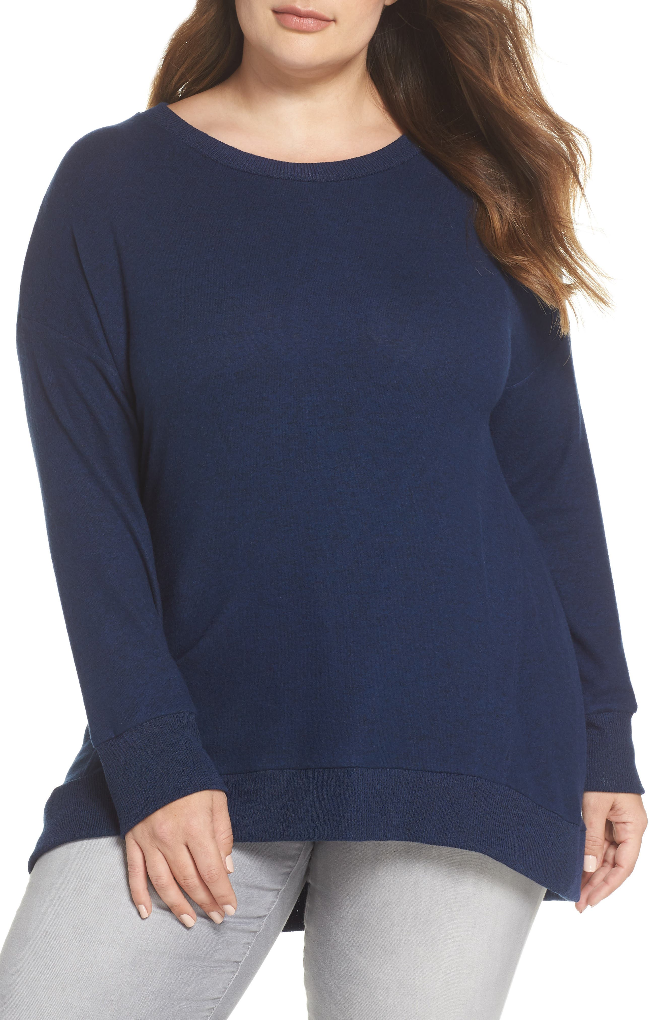 x Living in Yellow Chelsea Shirttail Sweater,                             Main thumbnail 1, color,                             Navy