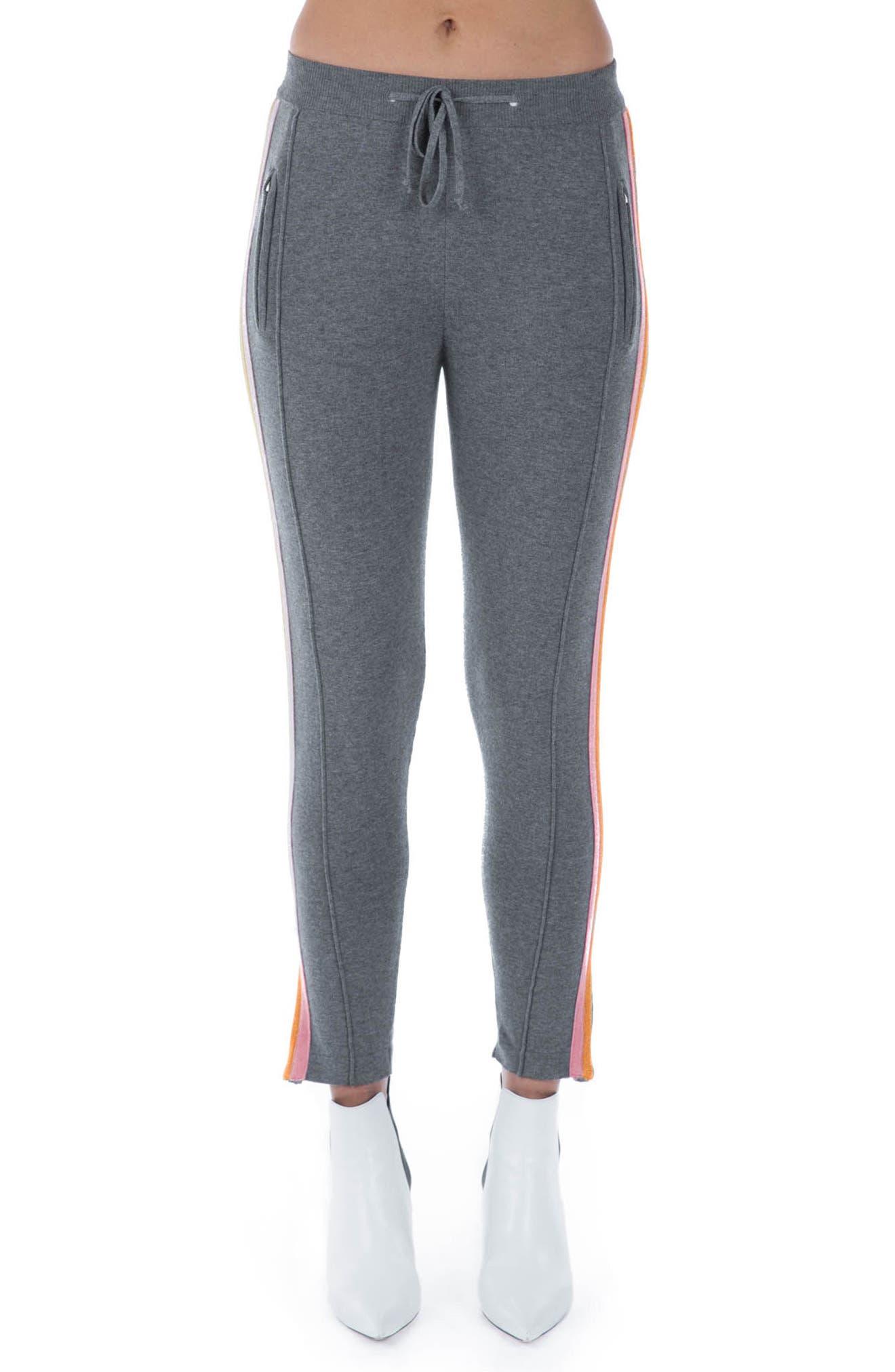 Rainbow Stripe Crop Sweatpants,                             Main thumbnail 1, color,                             Grey Multi