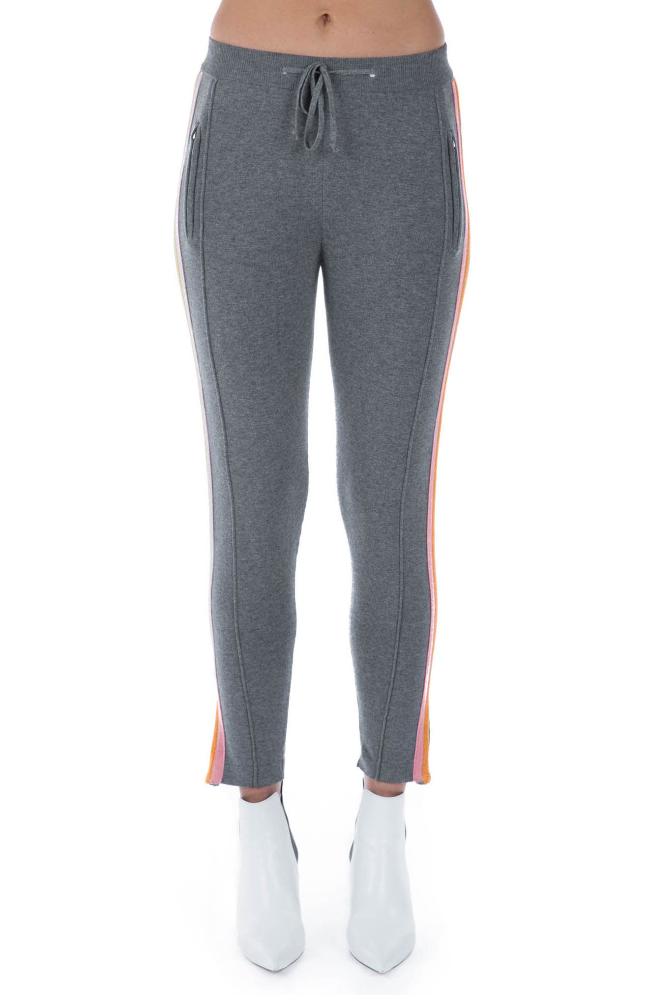 Rainbow Stripe Crop Sweatpants,                         Main,                         color, Grey Multi