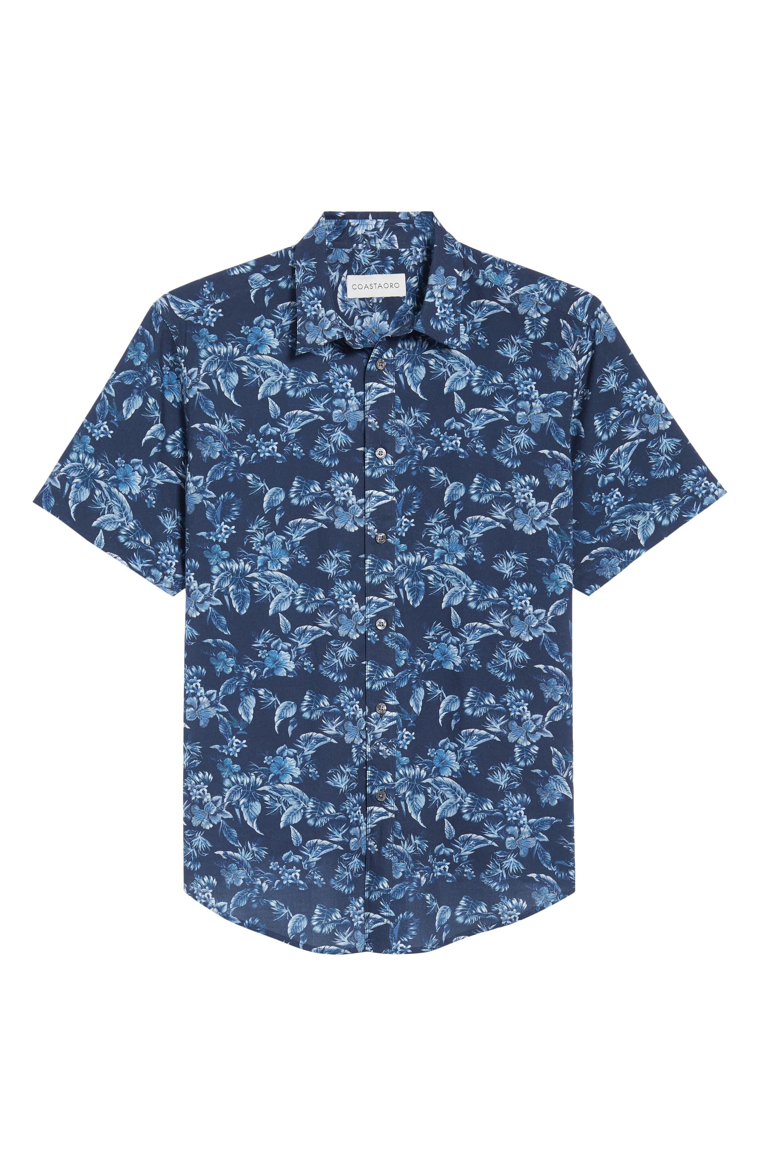 Califoras Regular Fit Print Sport Shirt,                             Alternate thumbnail 6, color,                             Navy