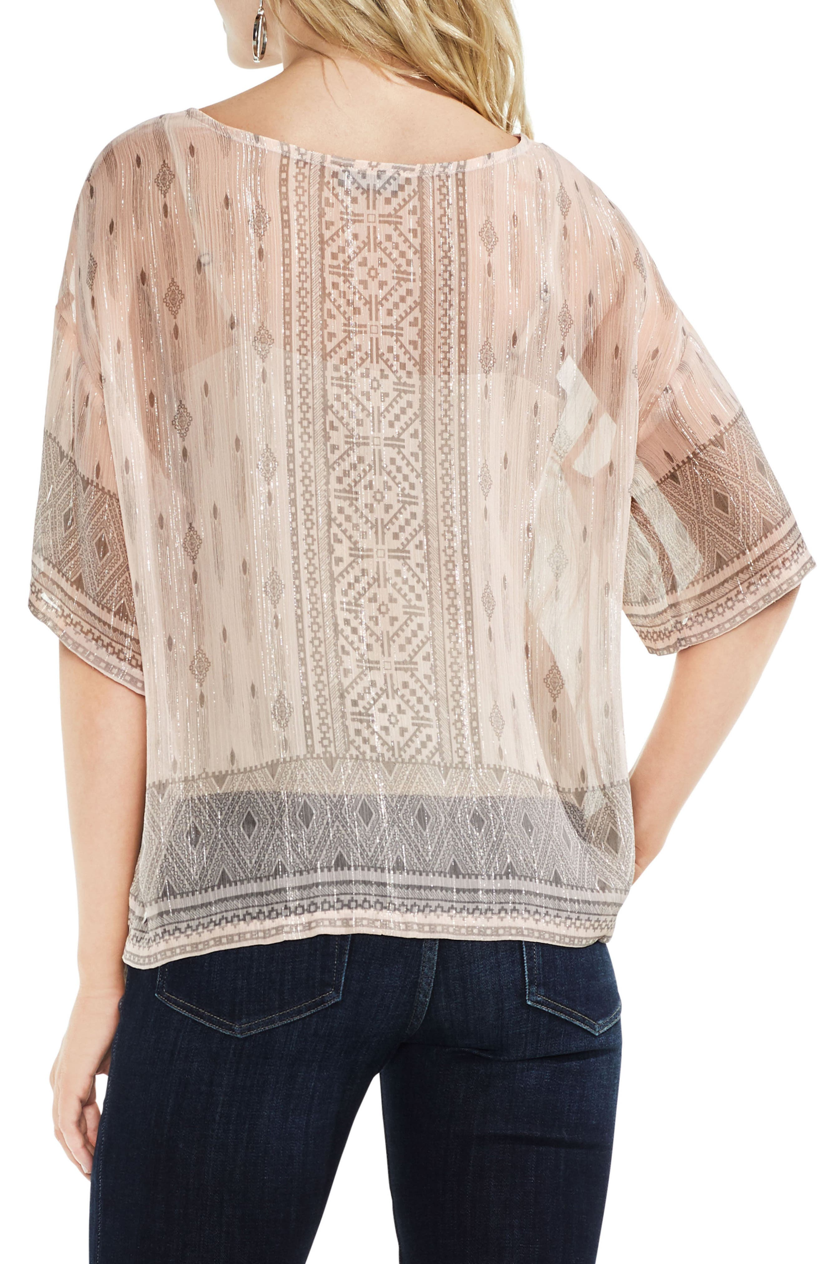 Delicate Diamond Geo Sheer Top,                             Alternate thumbnail 2, color,                             French Peach