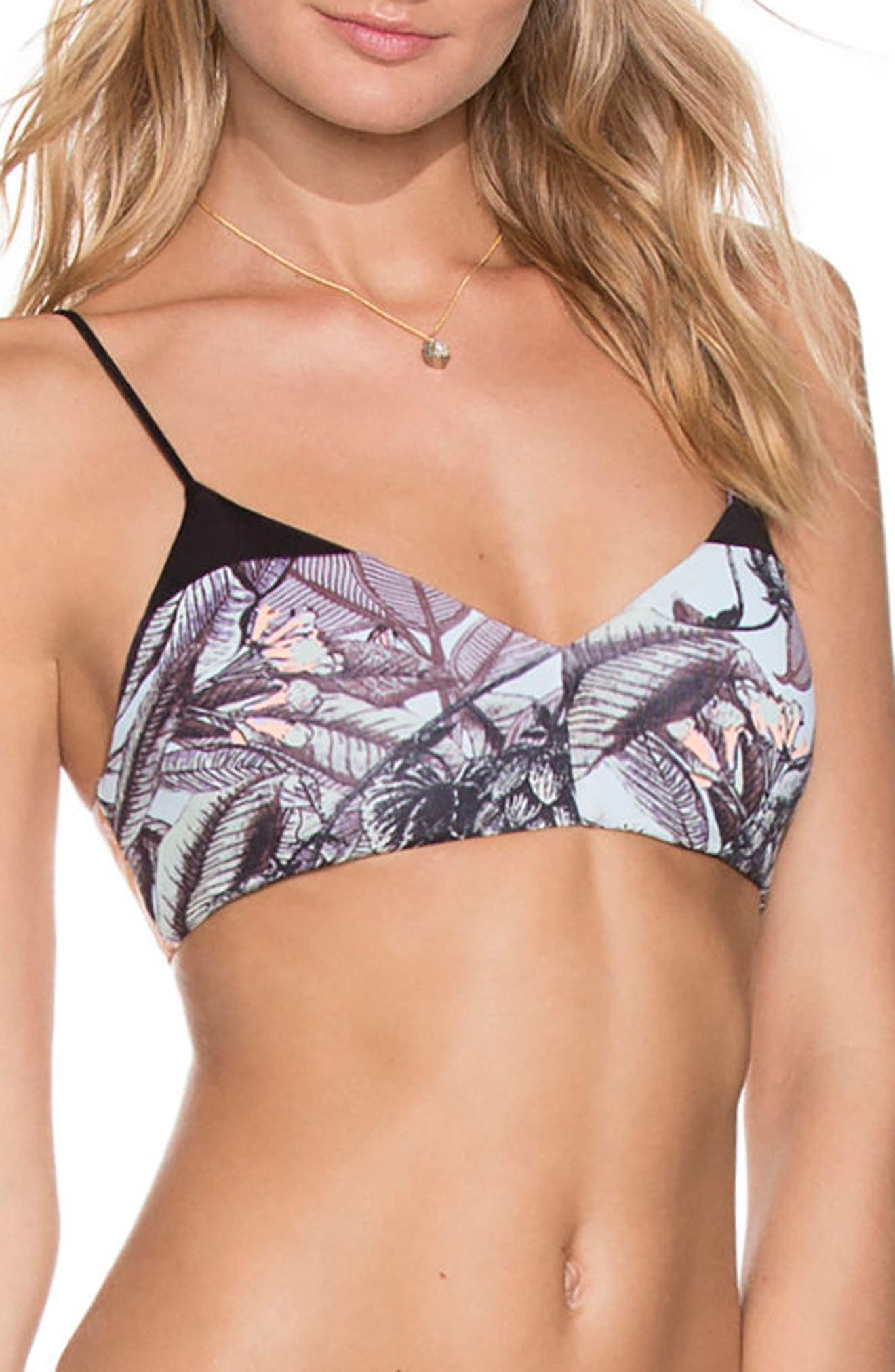 Afterlife Island Reversible Bikini Top,                             Main thumbnail 1, color,                             Black Multi