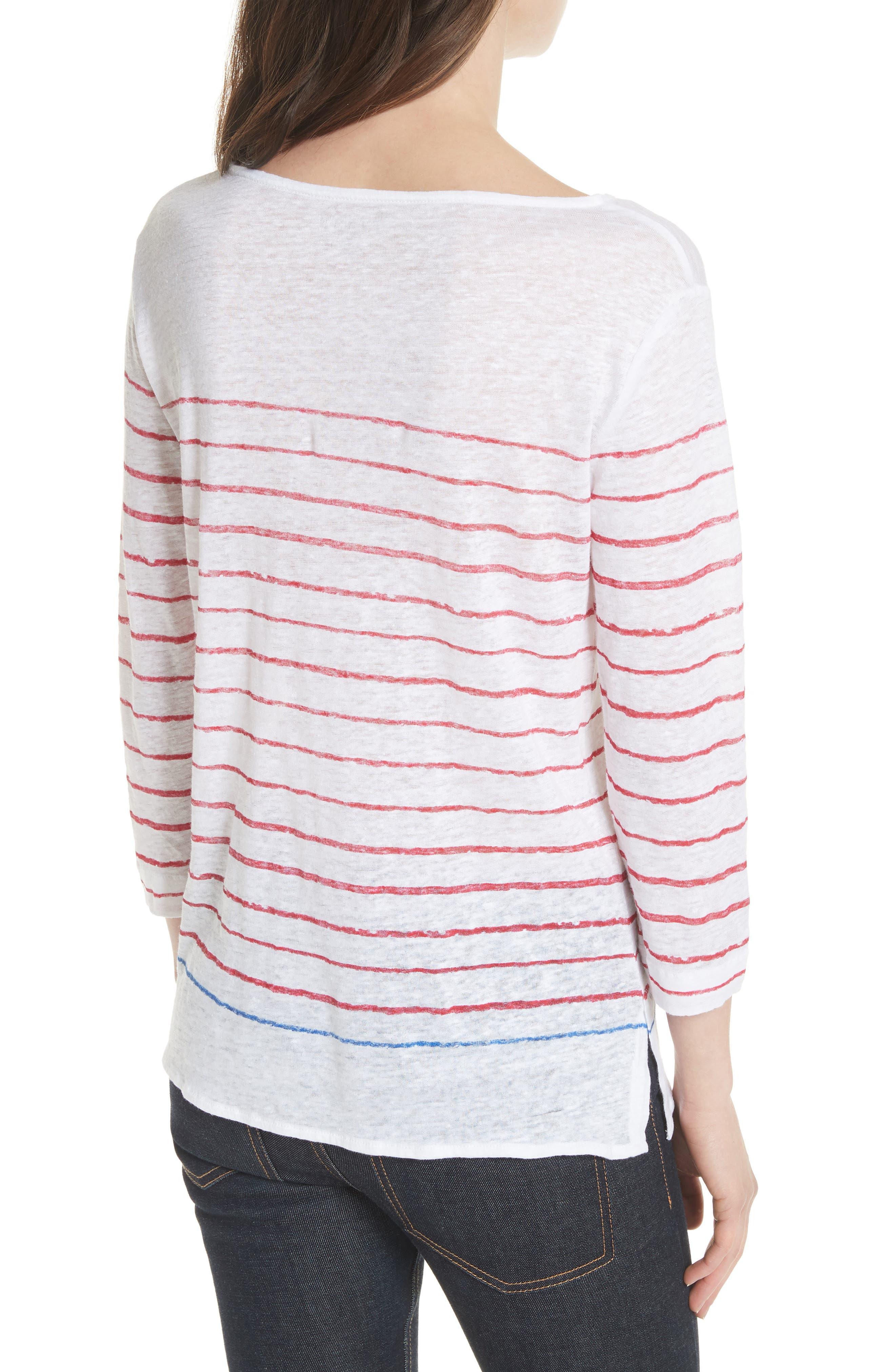 Stripe Three Quarter Sleeve Tee,                             Alternate thumbnail 2, color,                             Rouge/ Indigo Blue