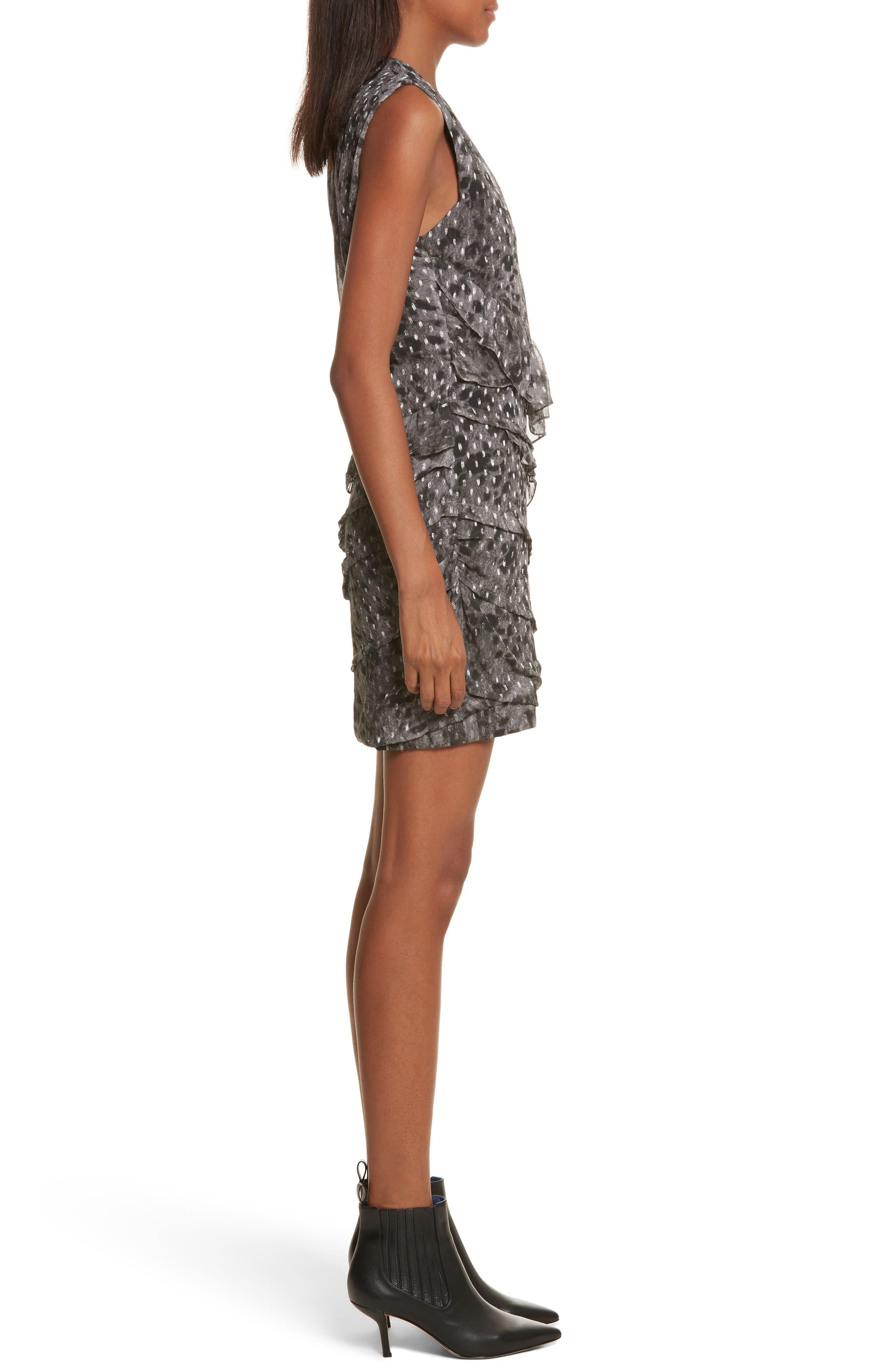 Corie Metallic Fil Coupé Dress,                             Alternate thumbnail 3, color,                             Charcoal