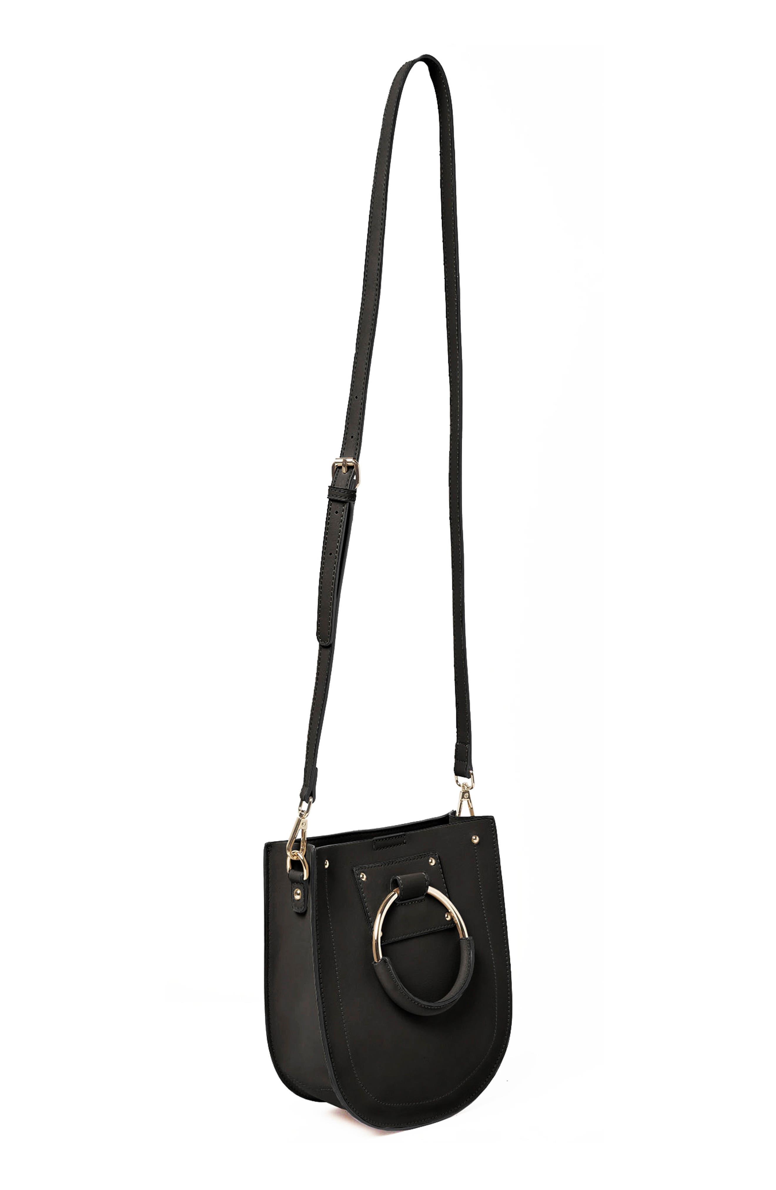 Scandi Vegan Leather Crossbody Bag,                             Alternate thumbnail 2, color,                             Black