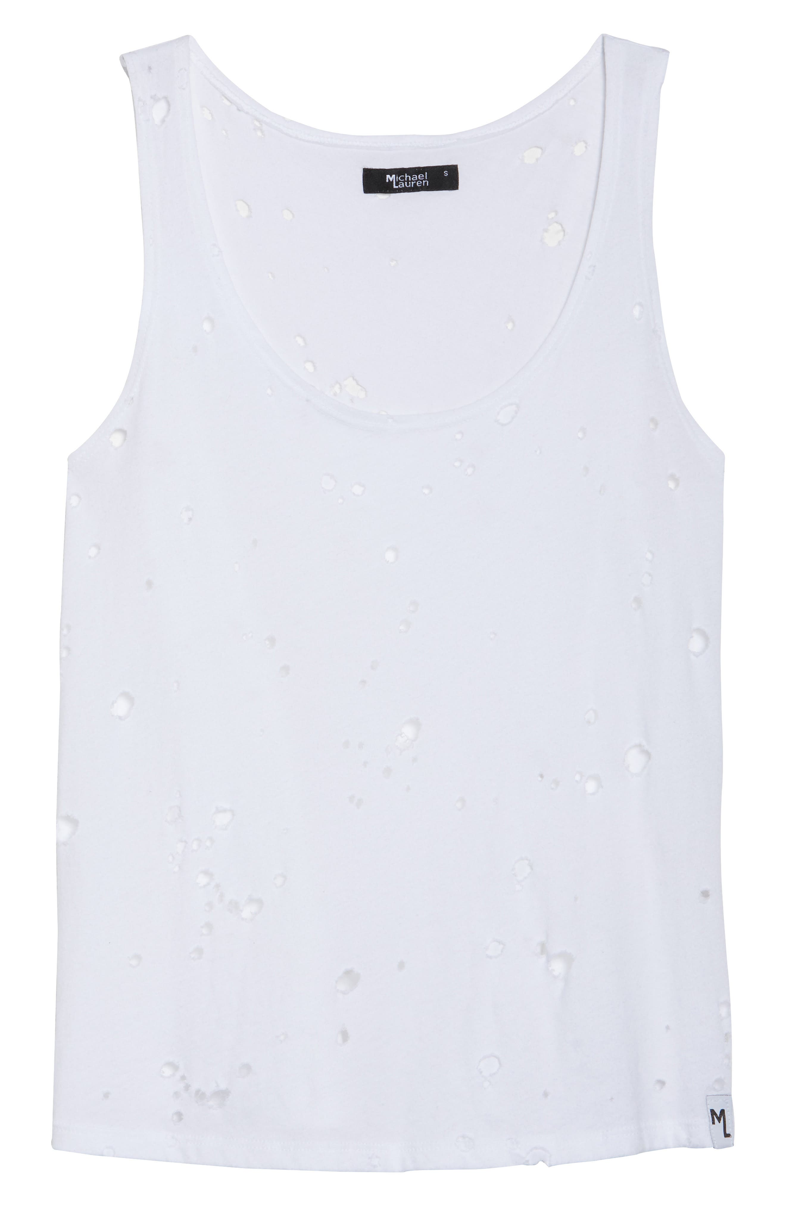 Brock Distressed Lounge Tank,                             Alternate thumbnail 6, color,                             White
