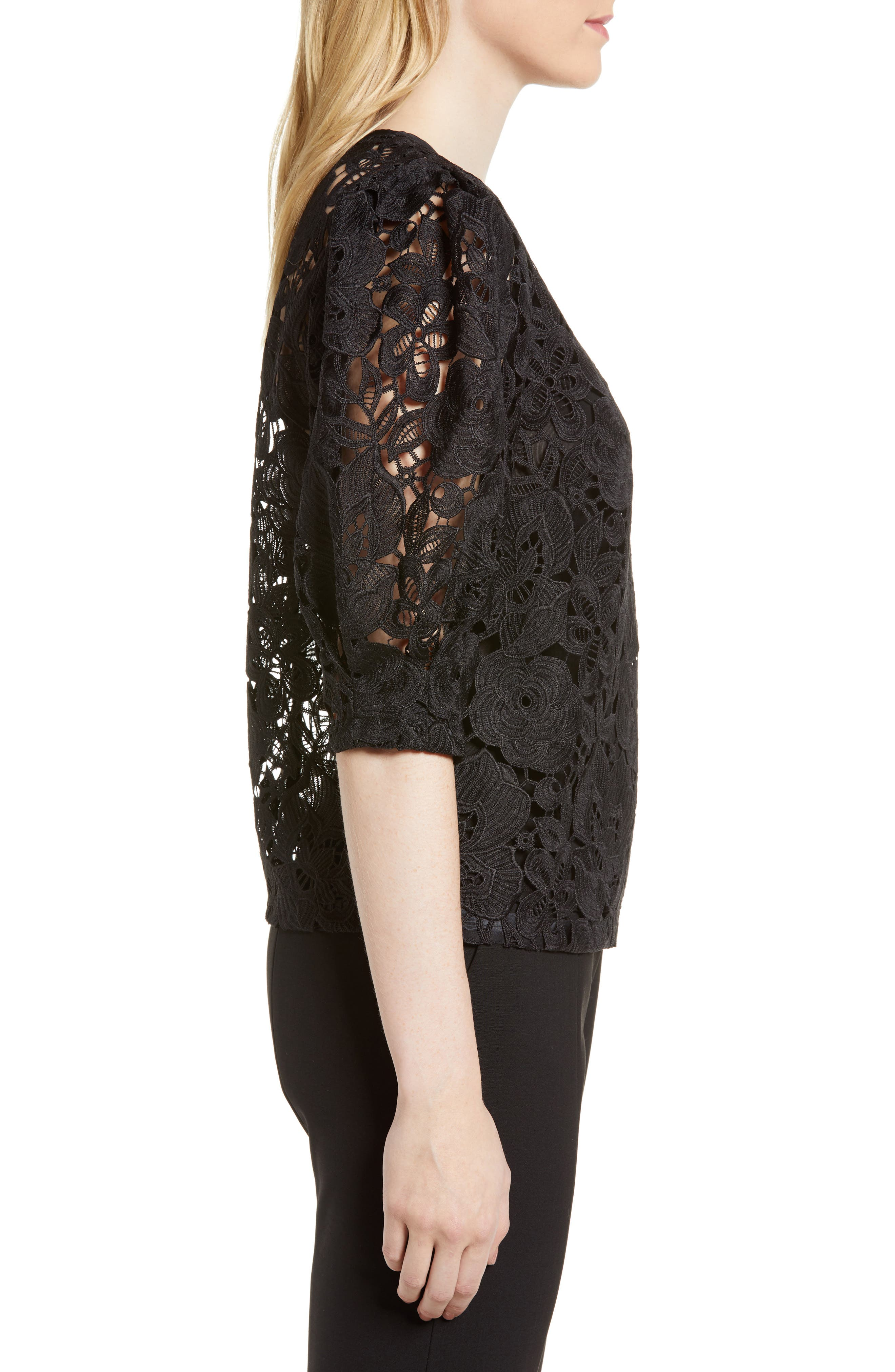 Puff Sleeve Lace Blouse,                             Alternate thumbnail 3, color,                             Black