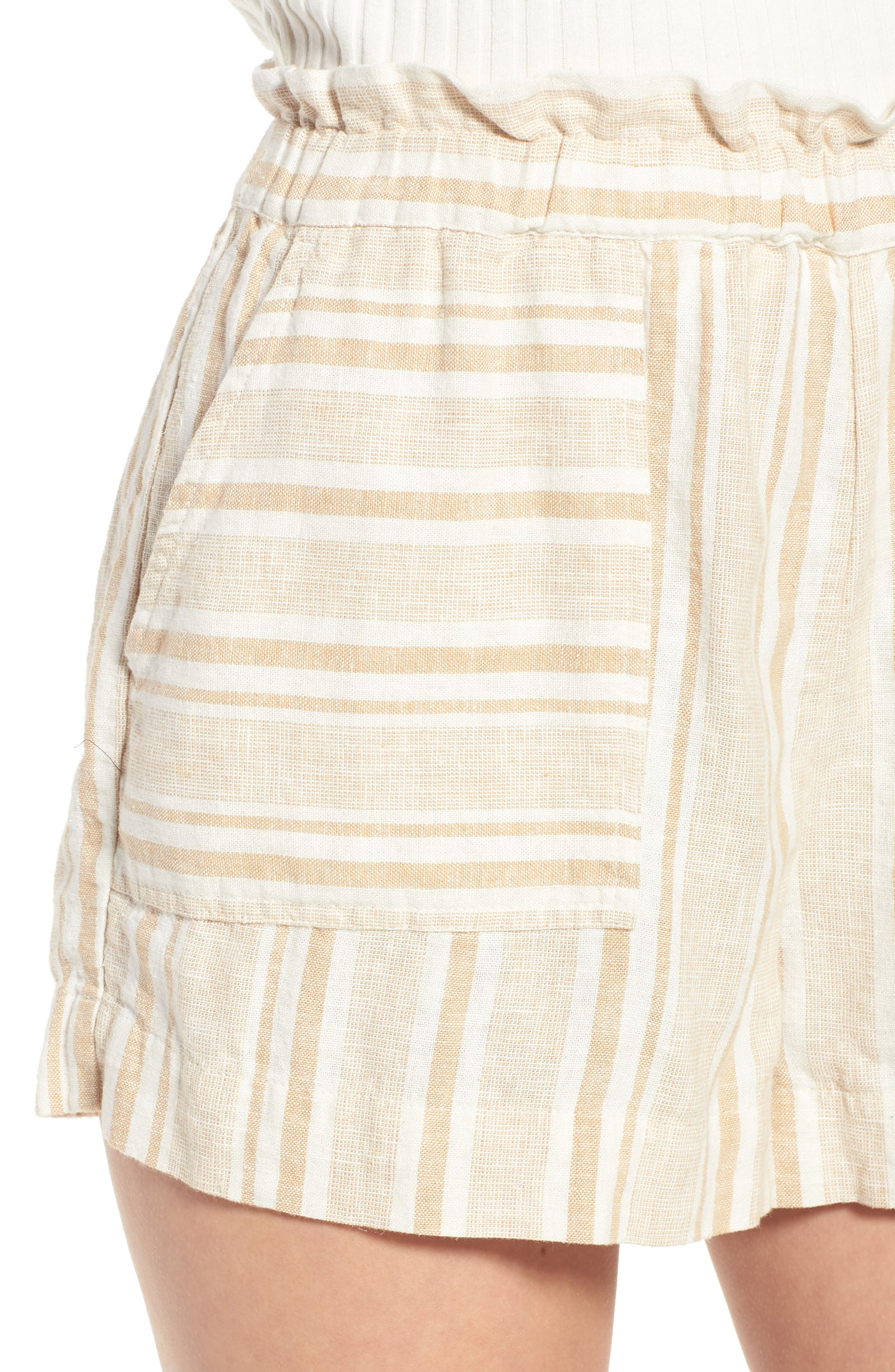 Stripe Linen Blend Shorts,                             Alternate thumbnail 4, color,                             Tan Lark Viola Stripe