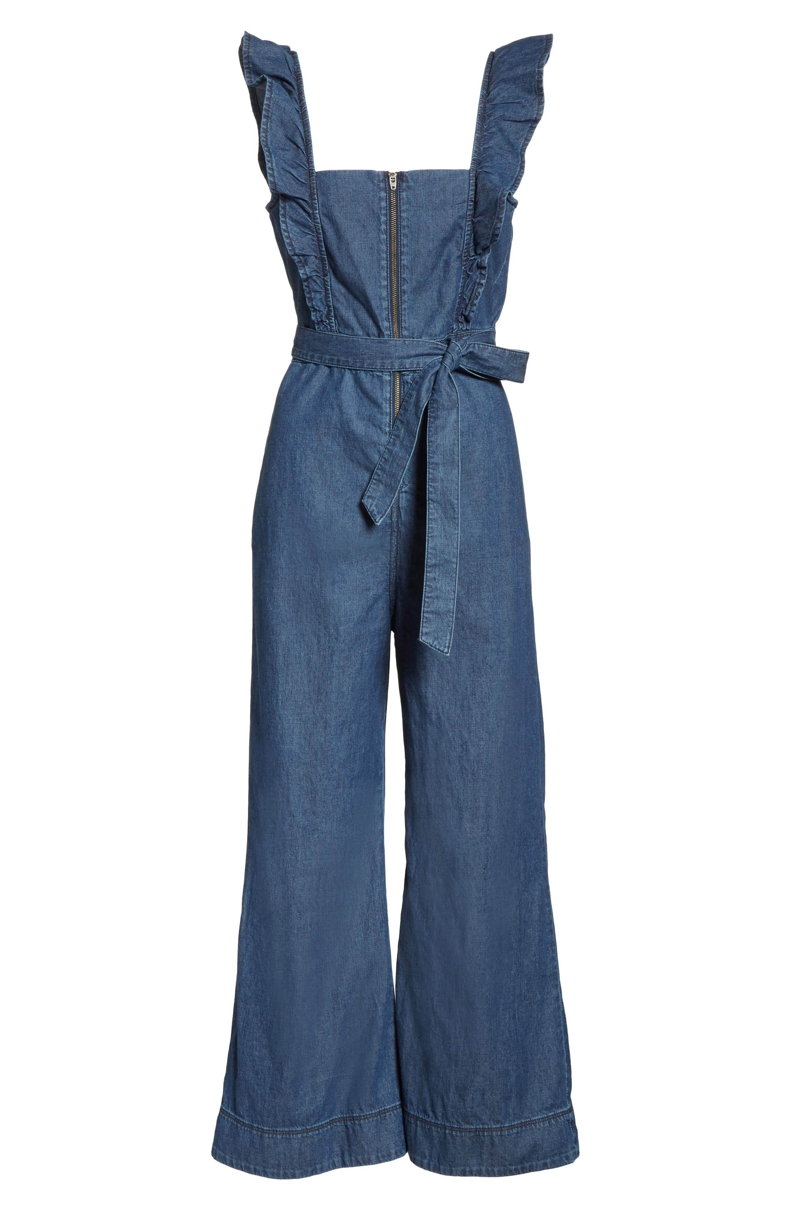 Sun Valley Jumpsuit,                             Alternate thumbnail 6, color,                             Dark Denim