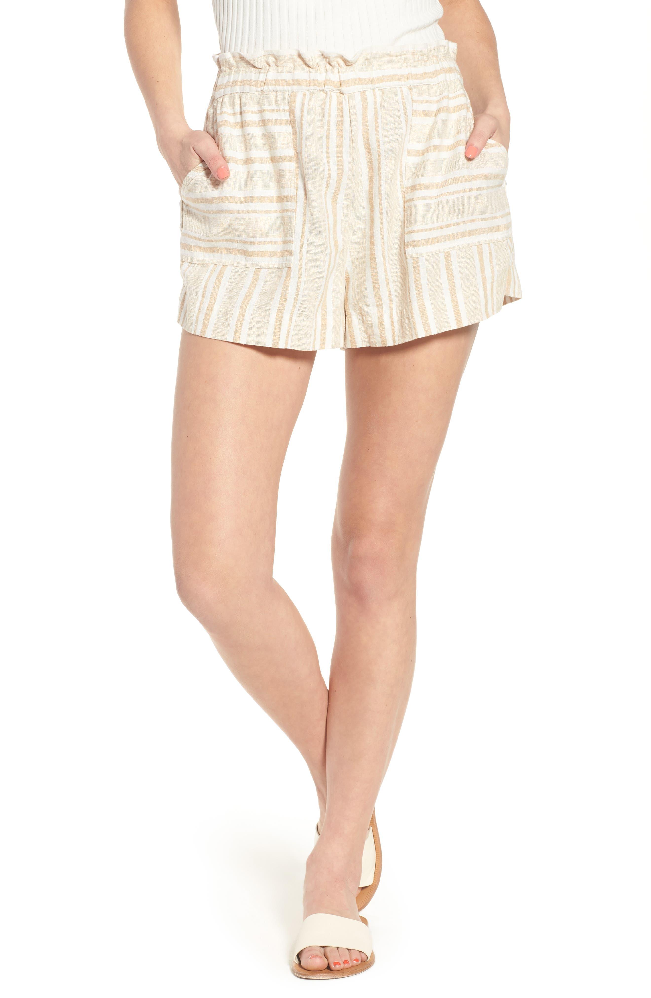 Stripe Linen Blend Shorts,                             Main thumbnail 1, color,                             Tan Lark Viola Stripe