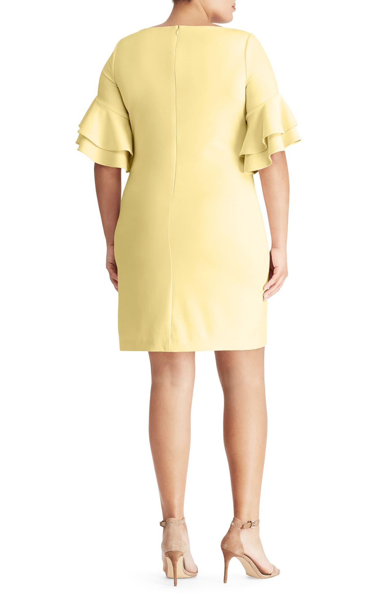 Silvana Ruffle Sleeve Sheath Dress,                             Alternate thumbnail 2, color,                             Island Yellow