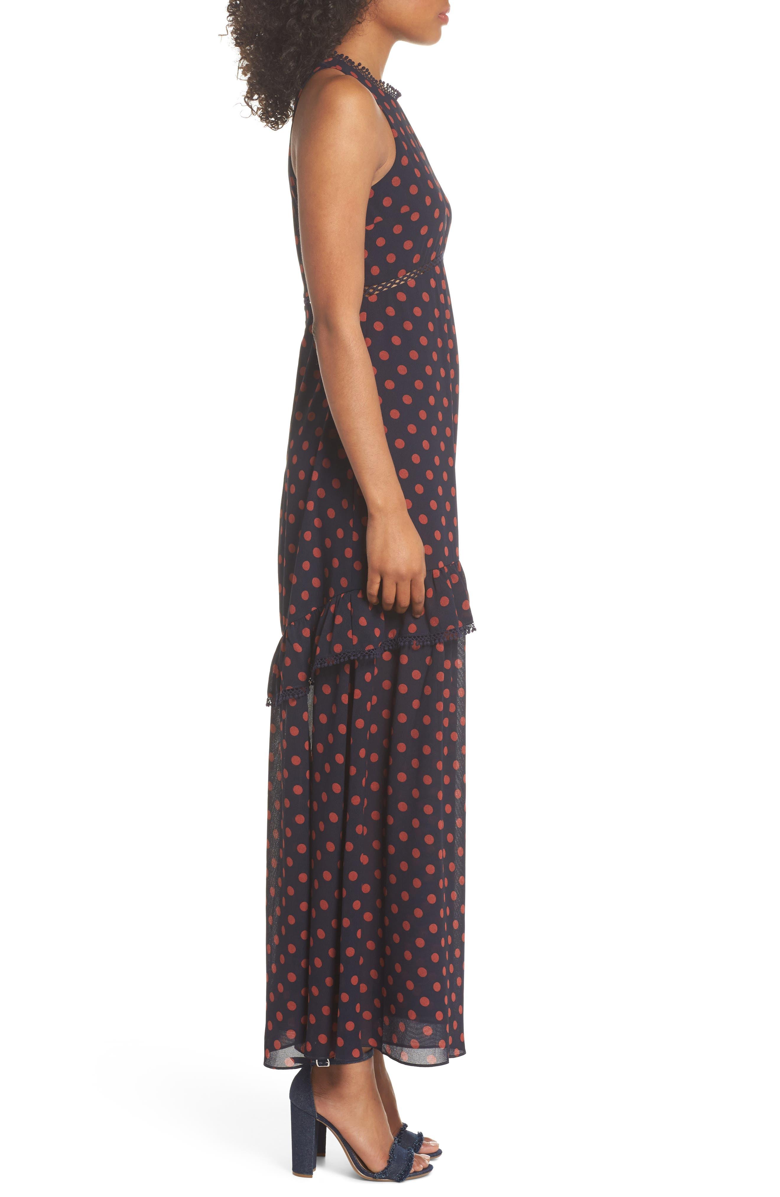 Dot Ruffle Maxi Dress,                             Alternate thumbnail 3, color,                             Navy/ Rust