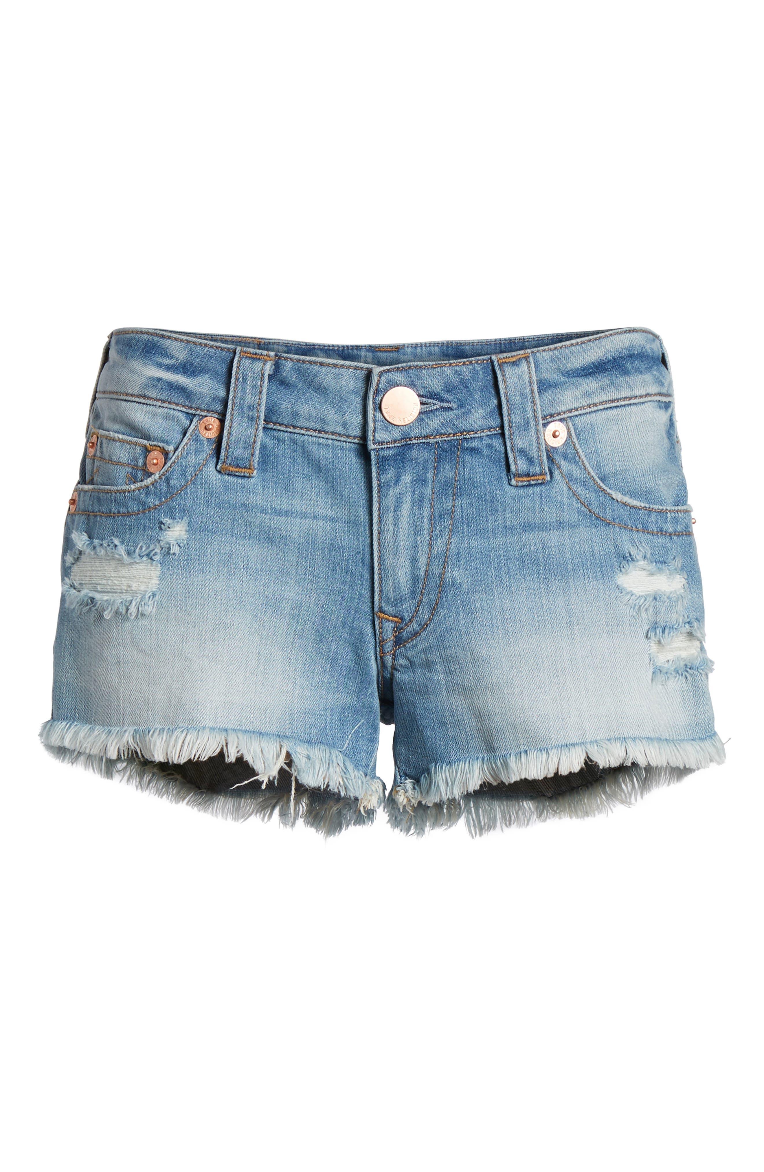 Joey Flap Pocket Cutoff Denim Shorts,                             Alternate thumbnail 7, color,                             Eshl Third Quarter