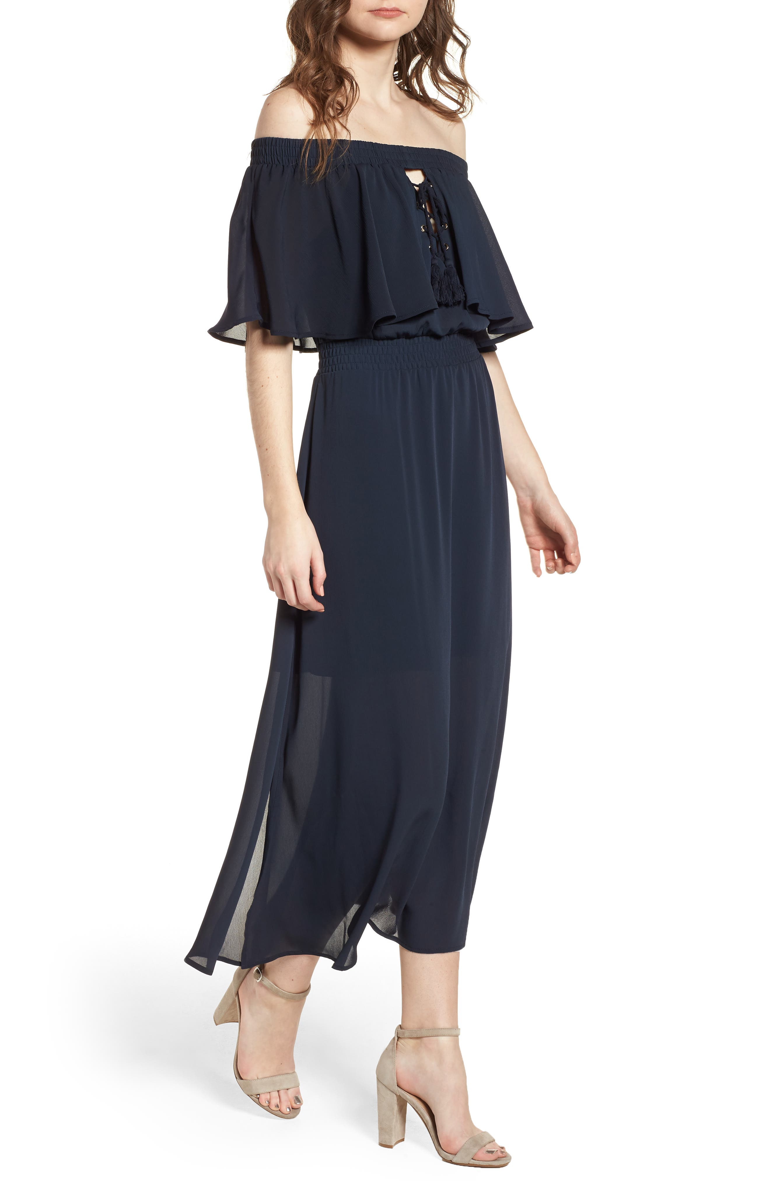 Touch the Sun Off the Shoulder Dress,                             Main thumbnail 1, color,                             Midnight