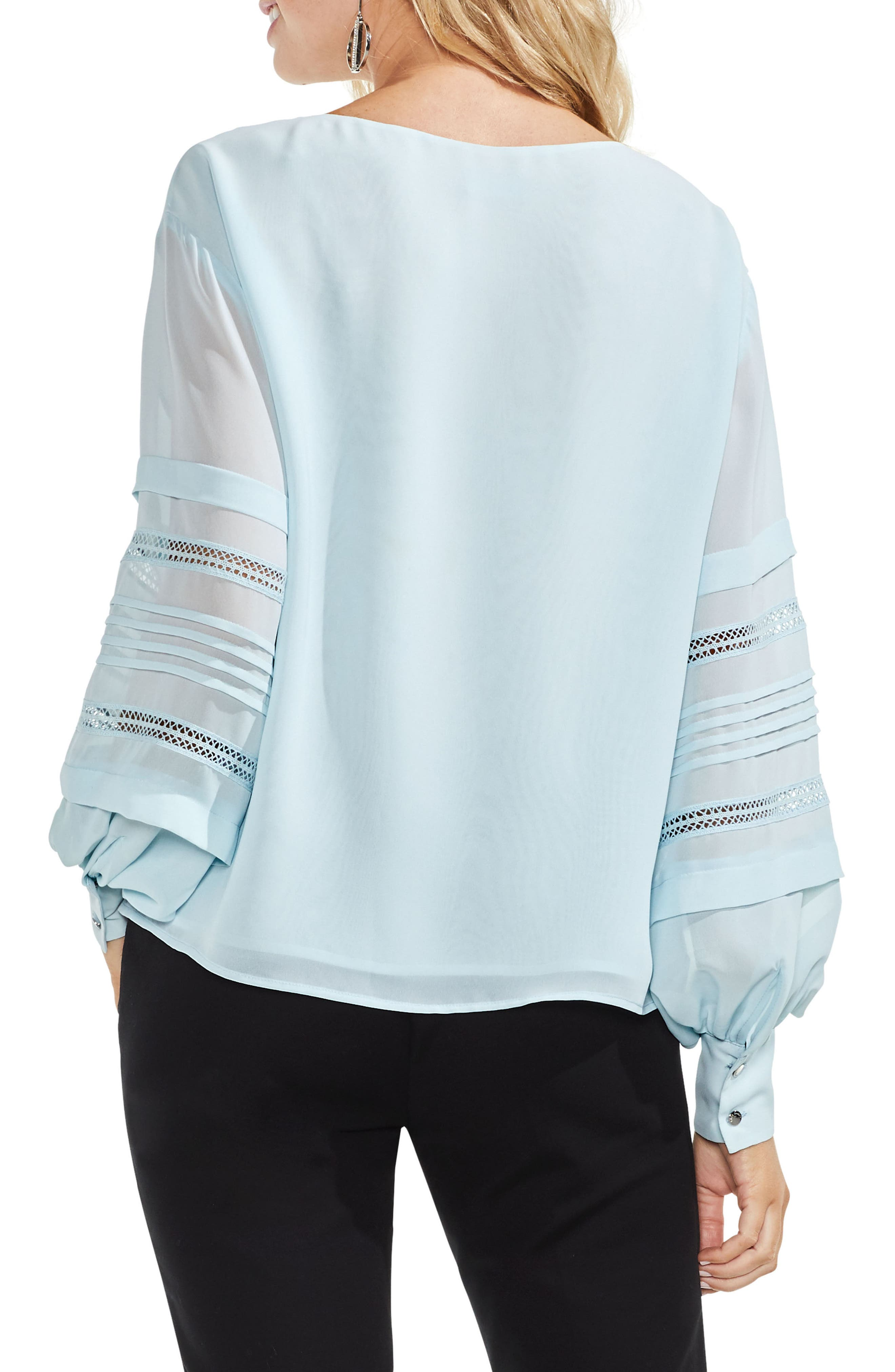 Pintuck Sleeve Blouse,                             Alternate thumbnail 2, color,                             Chalk Blue