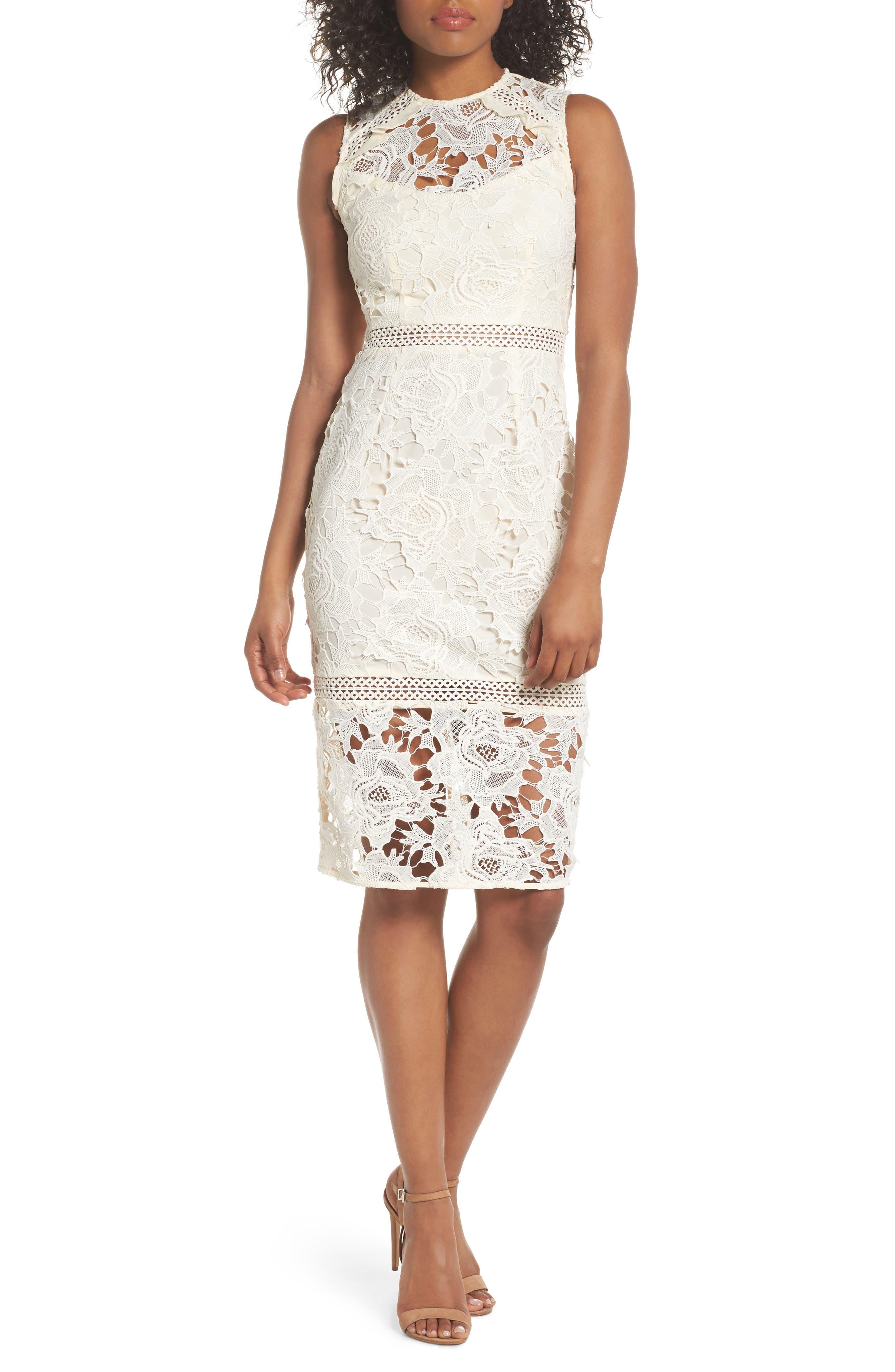 Lustrous High Neck Lace Sheath Dress,                             Main thumbnail 1, color,                             Coconut Milk