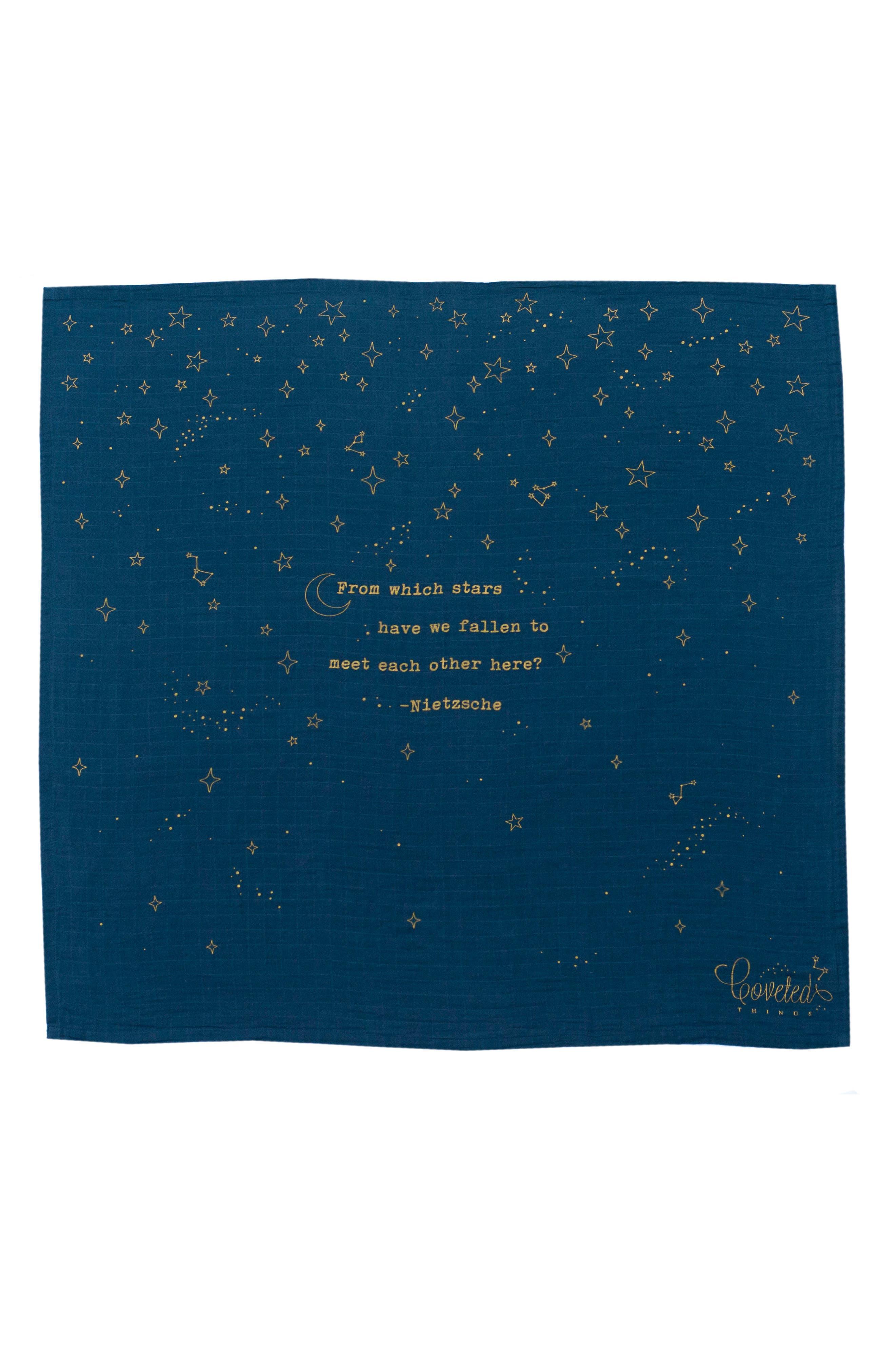 Stars Organic Cotton Swaddle Cloth,                         Main,                         color, Navy Blue